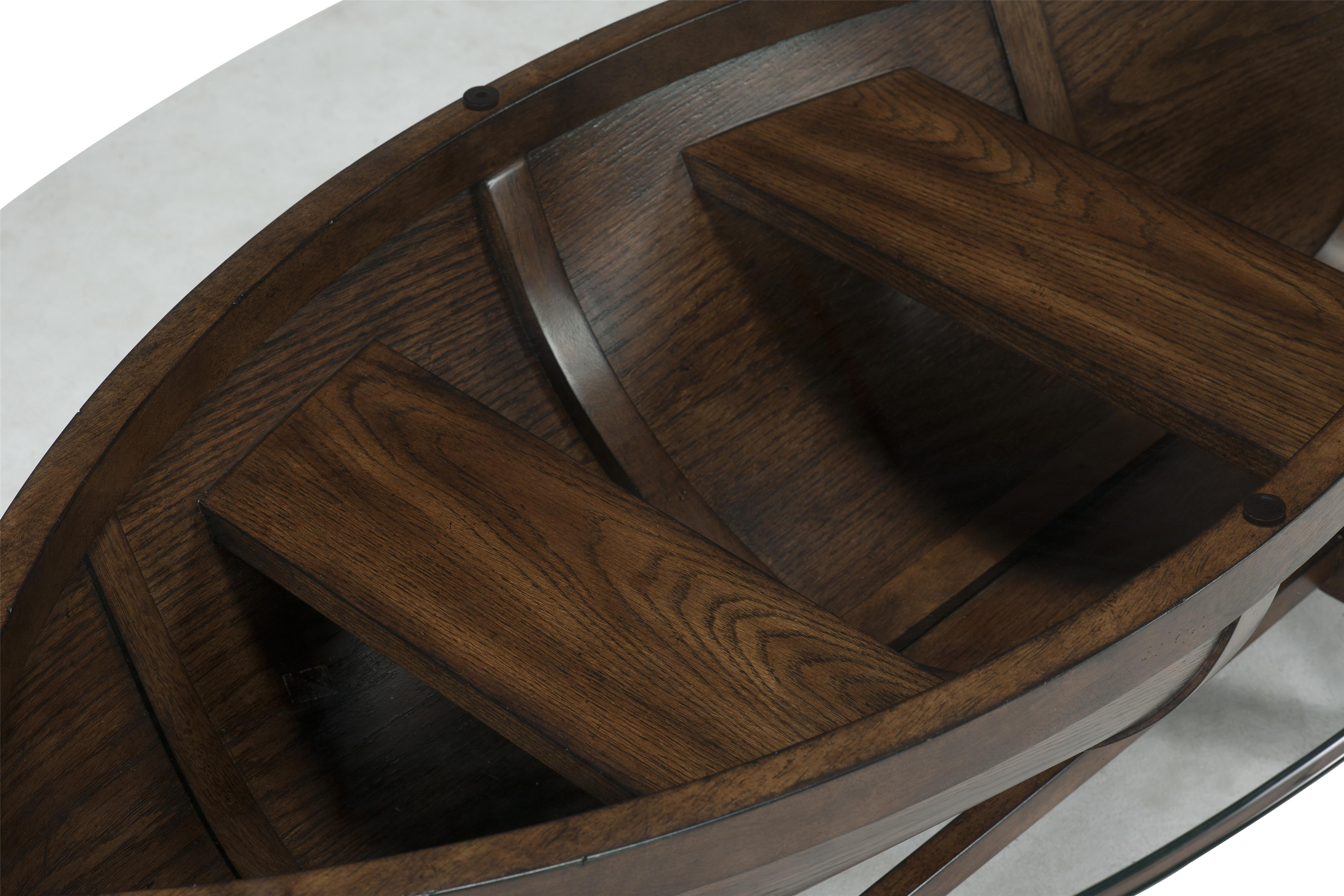 Boat hull cocktail table with trestle base and tempered for Boat coffee table