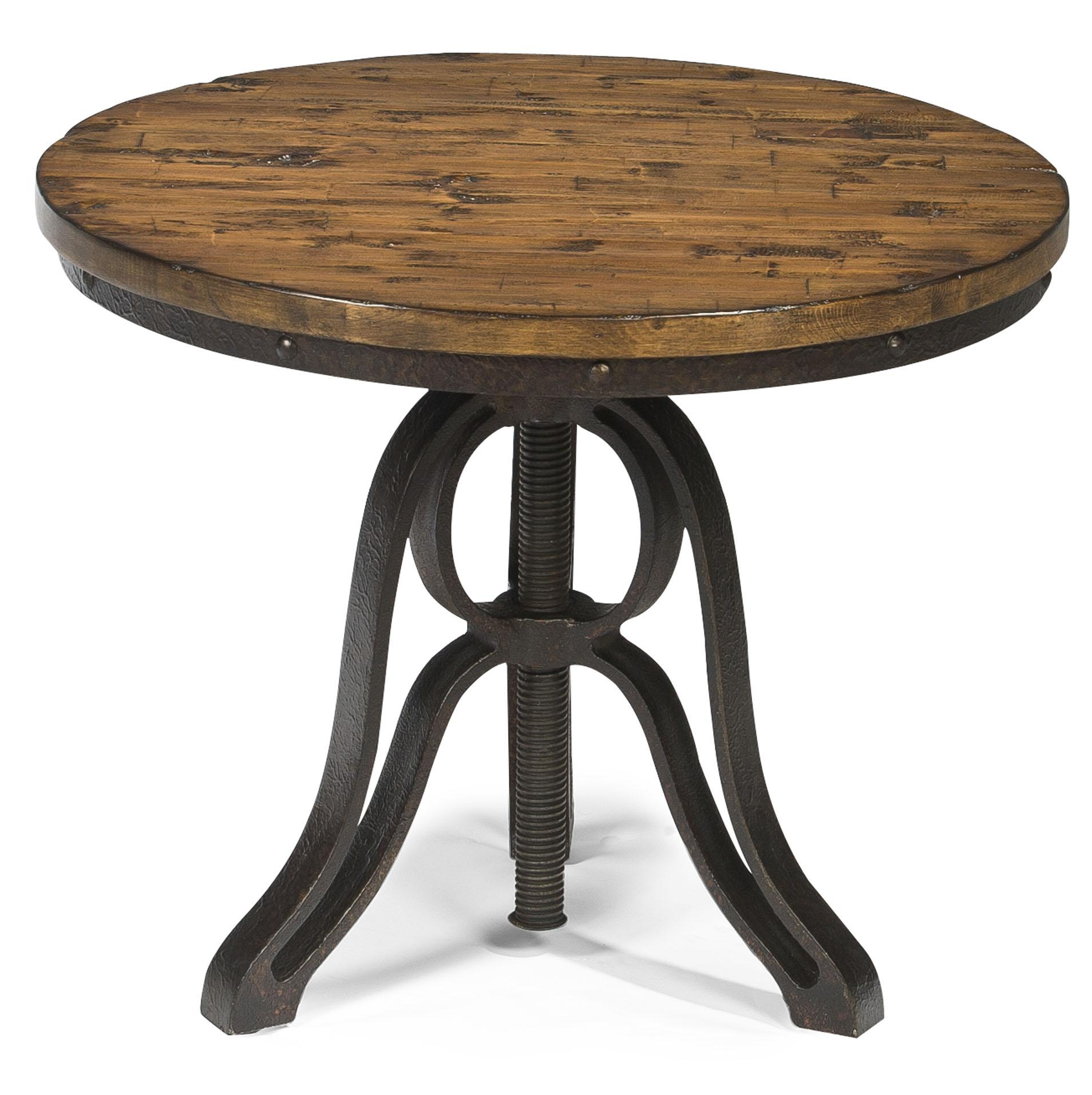 Industrial style round end table with adjustable height by for Small tall end table