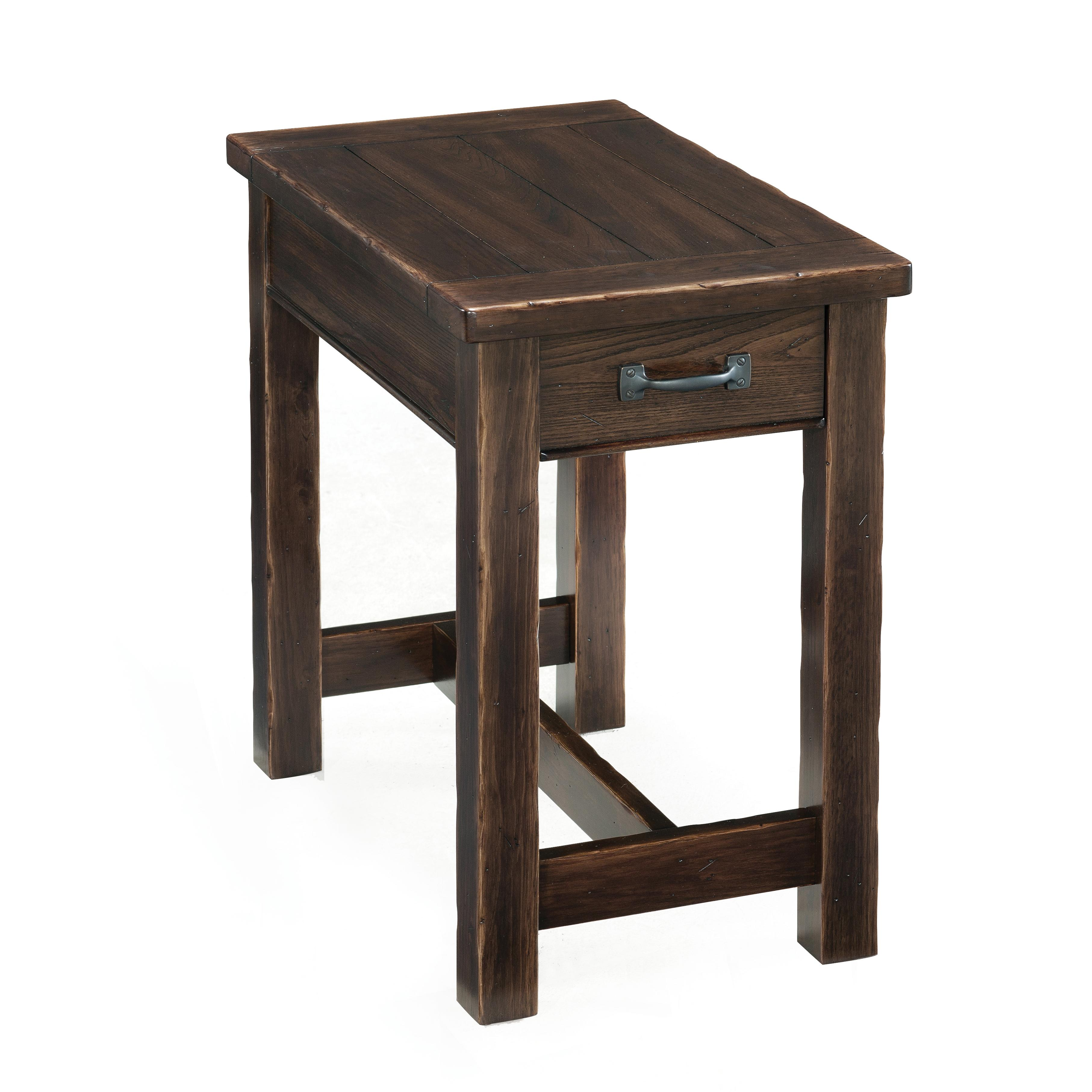 rustic rectangular chairside table with drawer by