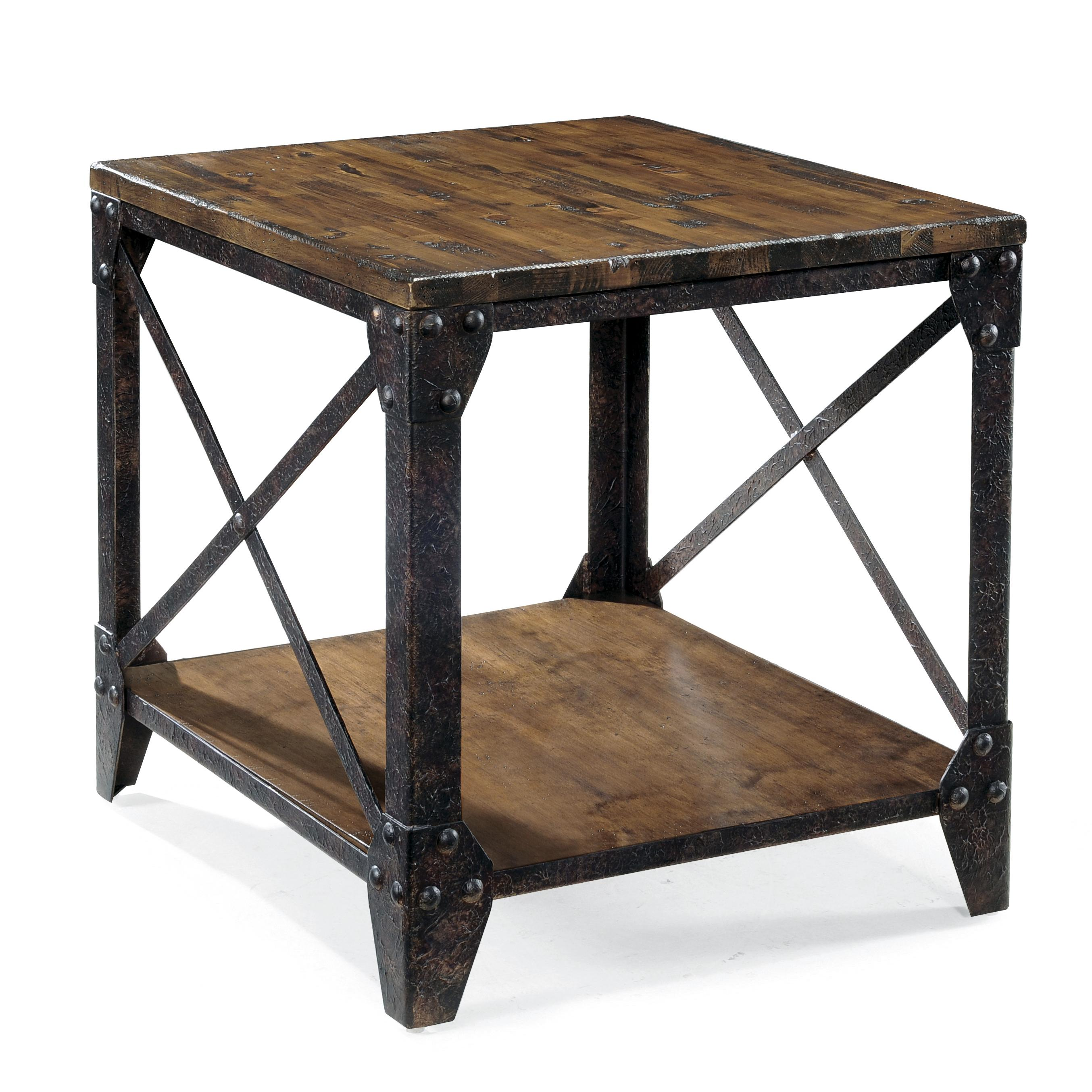 Rectangular end table with rustic iron legs by magnussen for Rustic wood accent tables