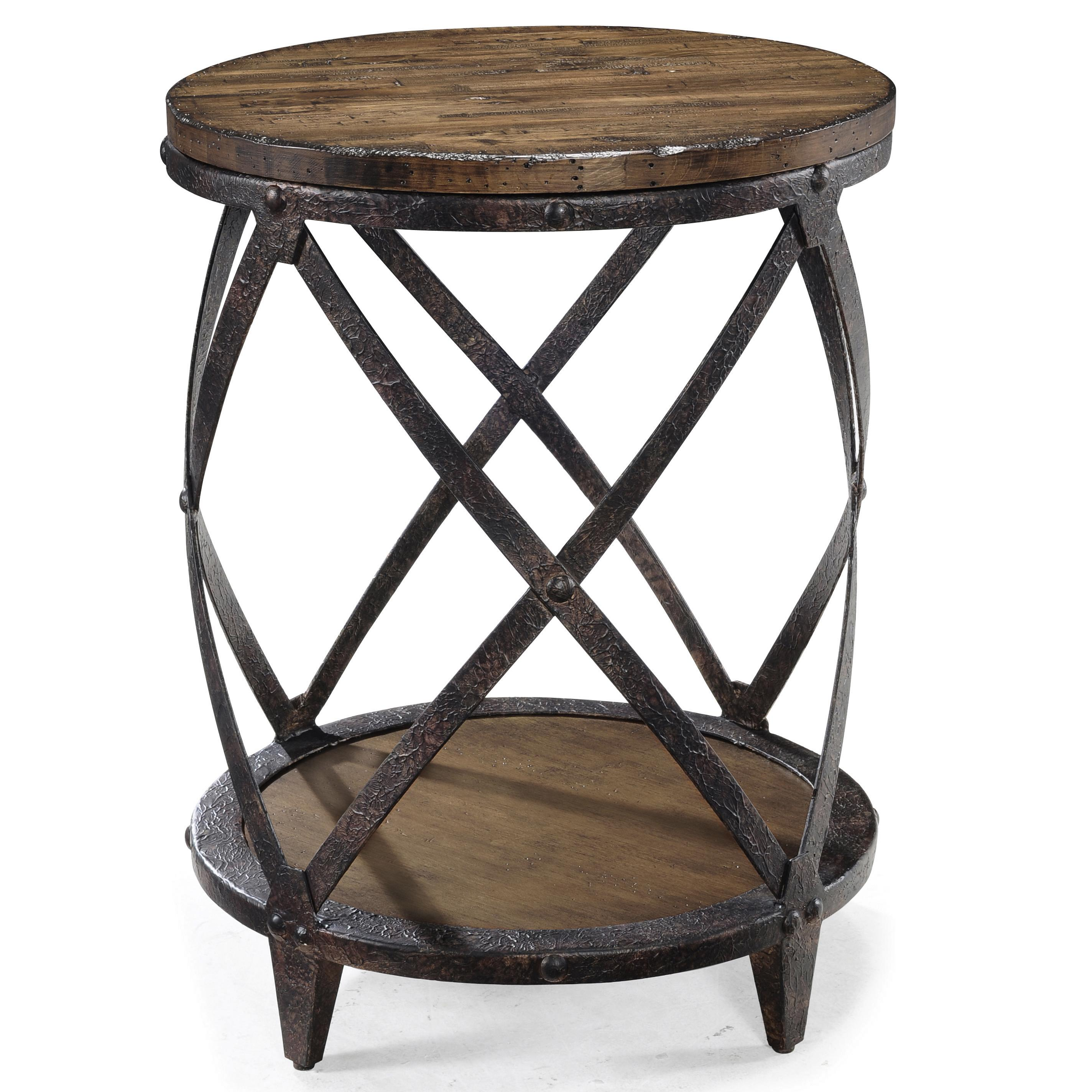 Round accent end table with rustic iron legs by magnussen for Rod iron legs