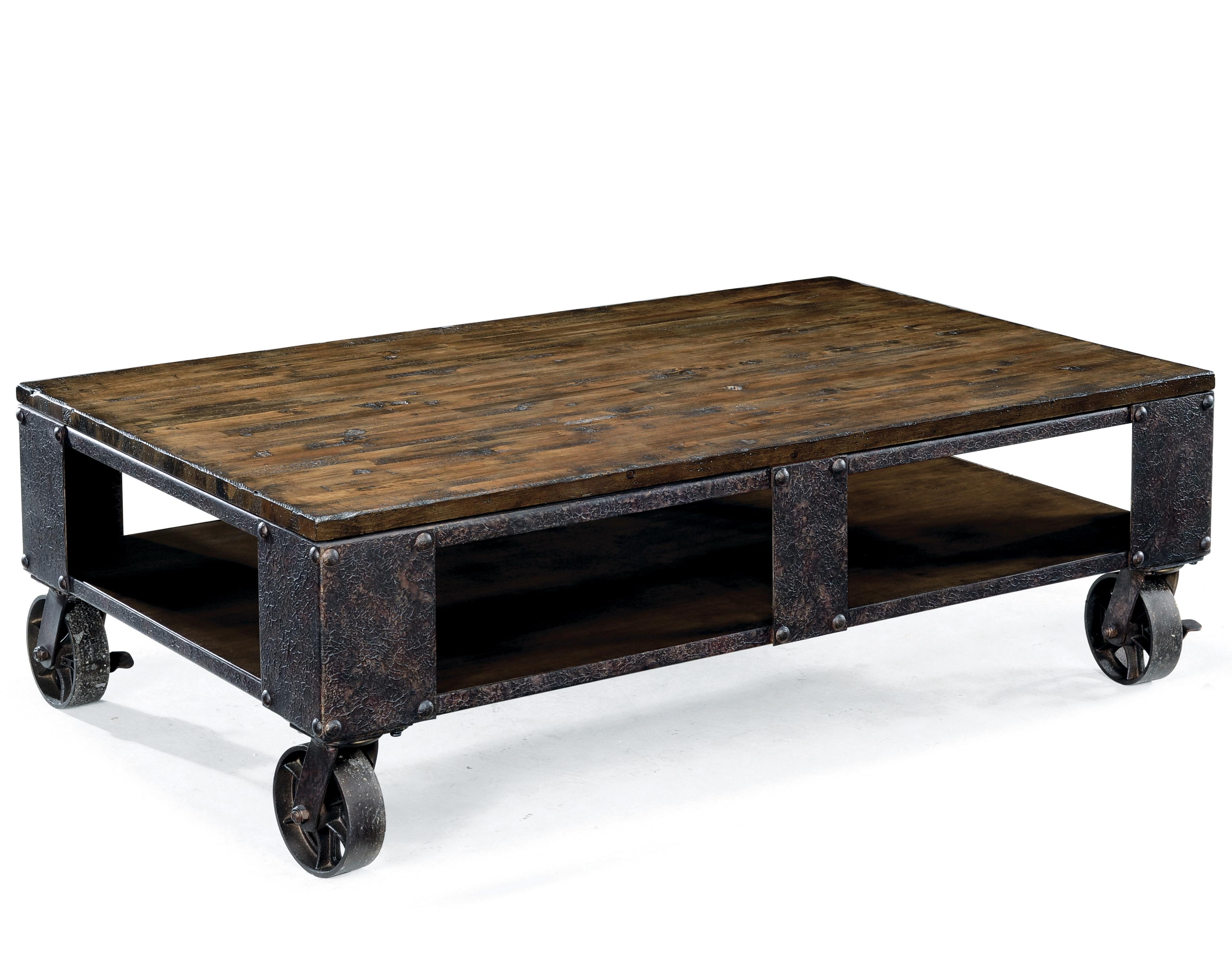 Rectangular cocktail table with wheel feet by magnussen for Coffee tables york pa