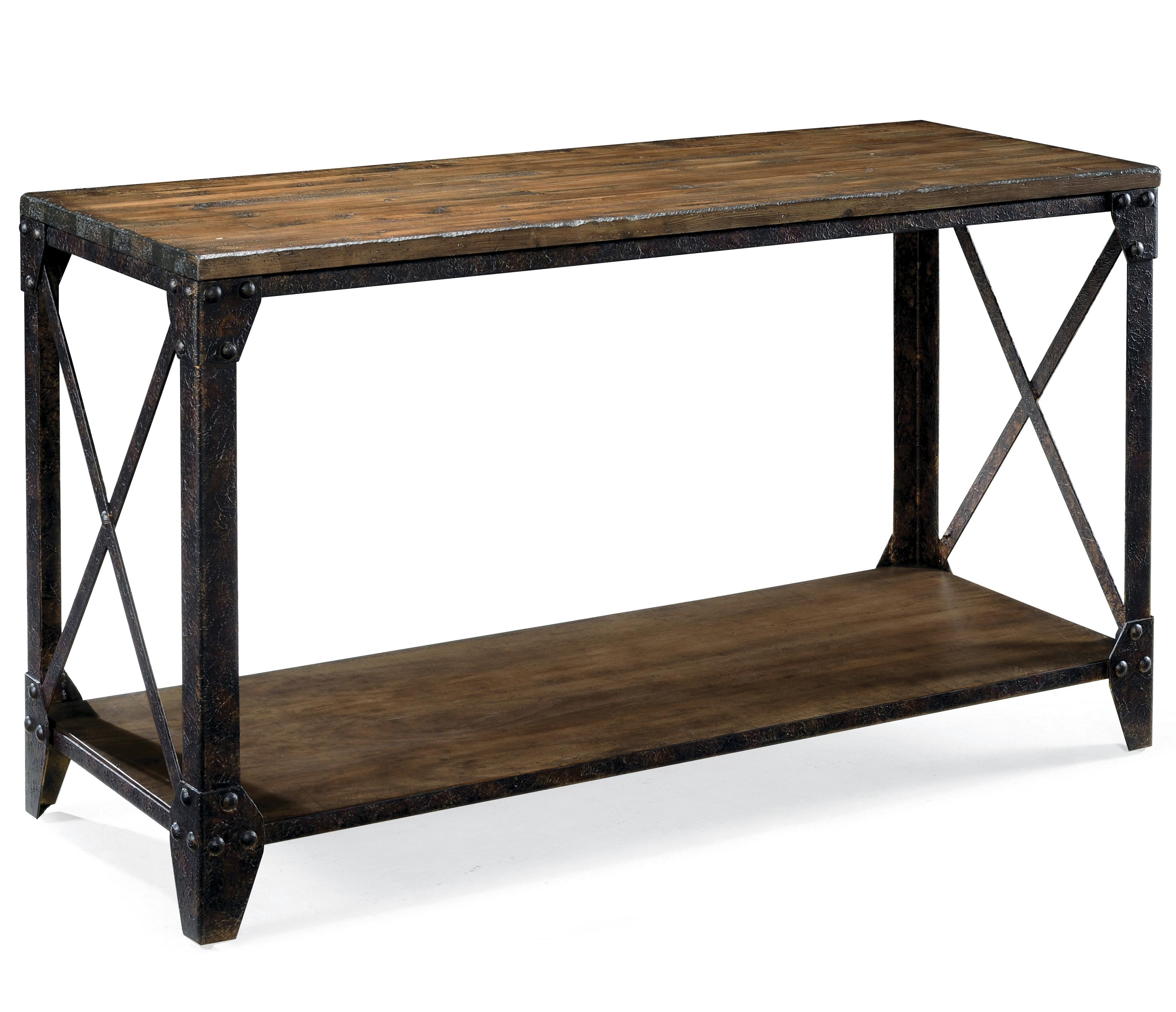 Rectangular sofa table with rustic iron legs by magnussen for Sofa table leg height