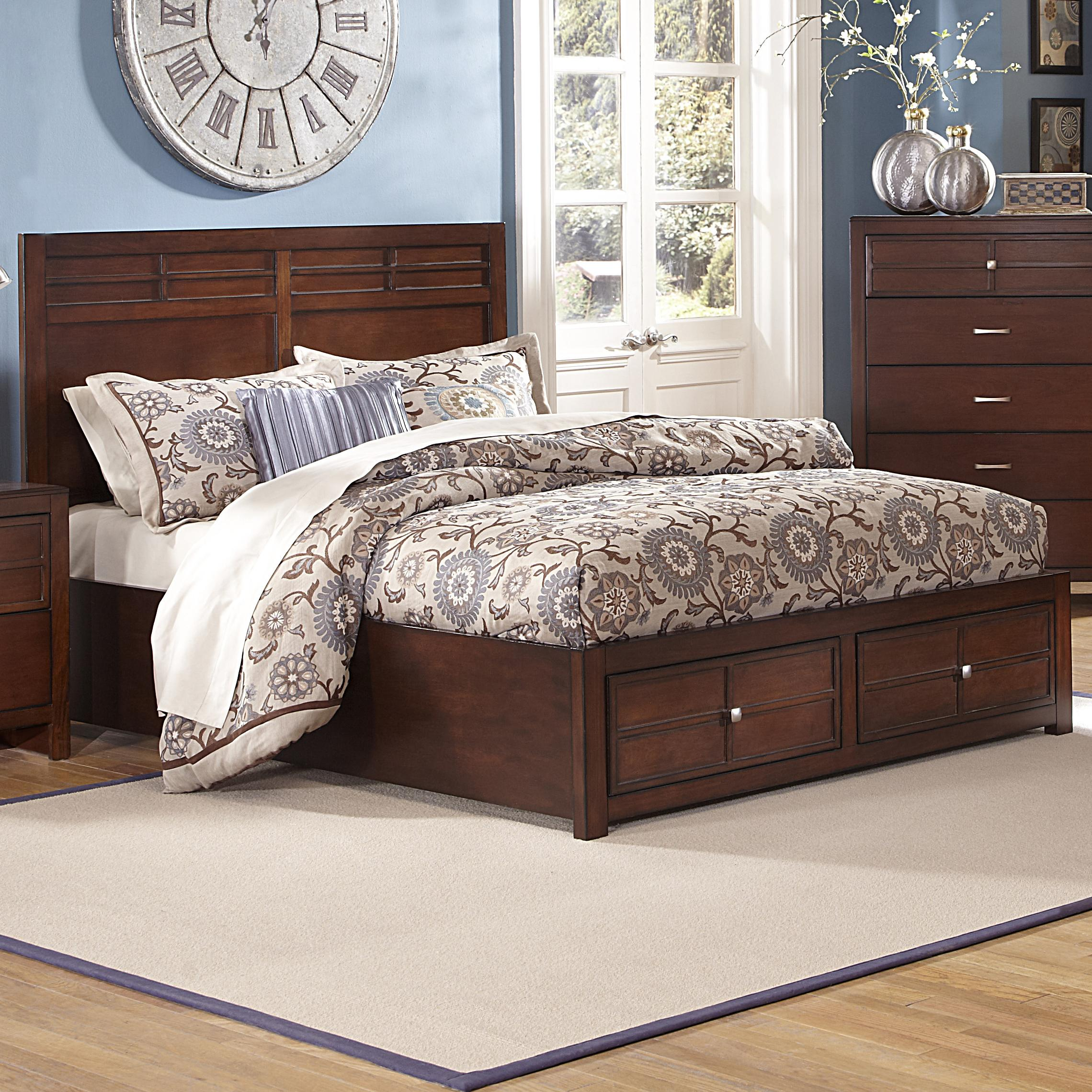 Queen low profile bed with storage footboard by new for Queen footboard