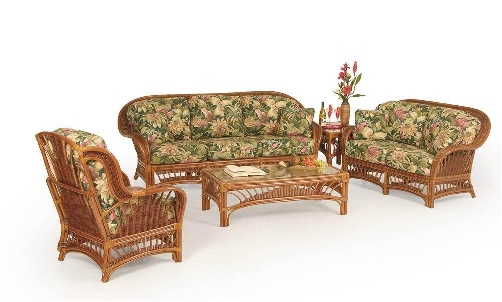 Wicker Upholstered Love Seat by Palm Springs Rattan