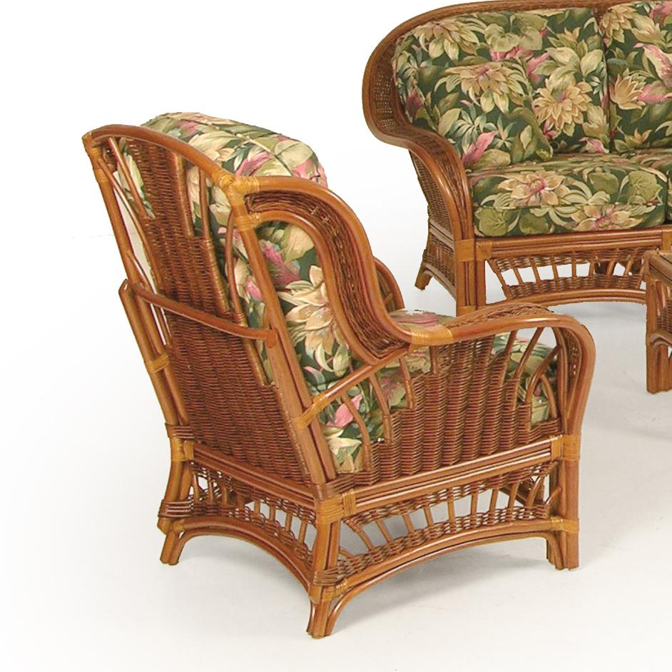 Upholstered wicker chair by palm springs rattan wolf and for Wicker furniture