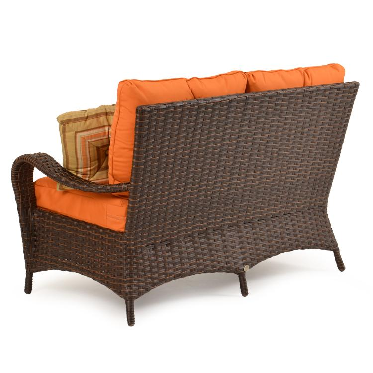 Wicker Loveseat w/ Throw Pillows by Palm Springs Rattan Wolf and Gardiner Wolf Furniture