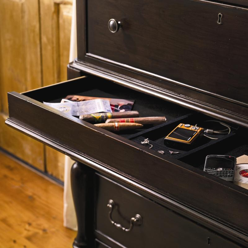 Tall chest with 7 drawers and semi hidden jewelry tray for Hidden jewelry drawer