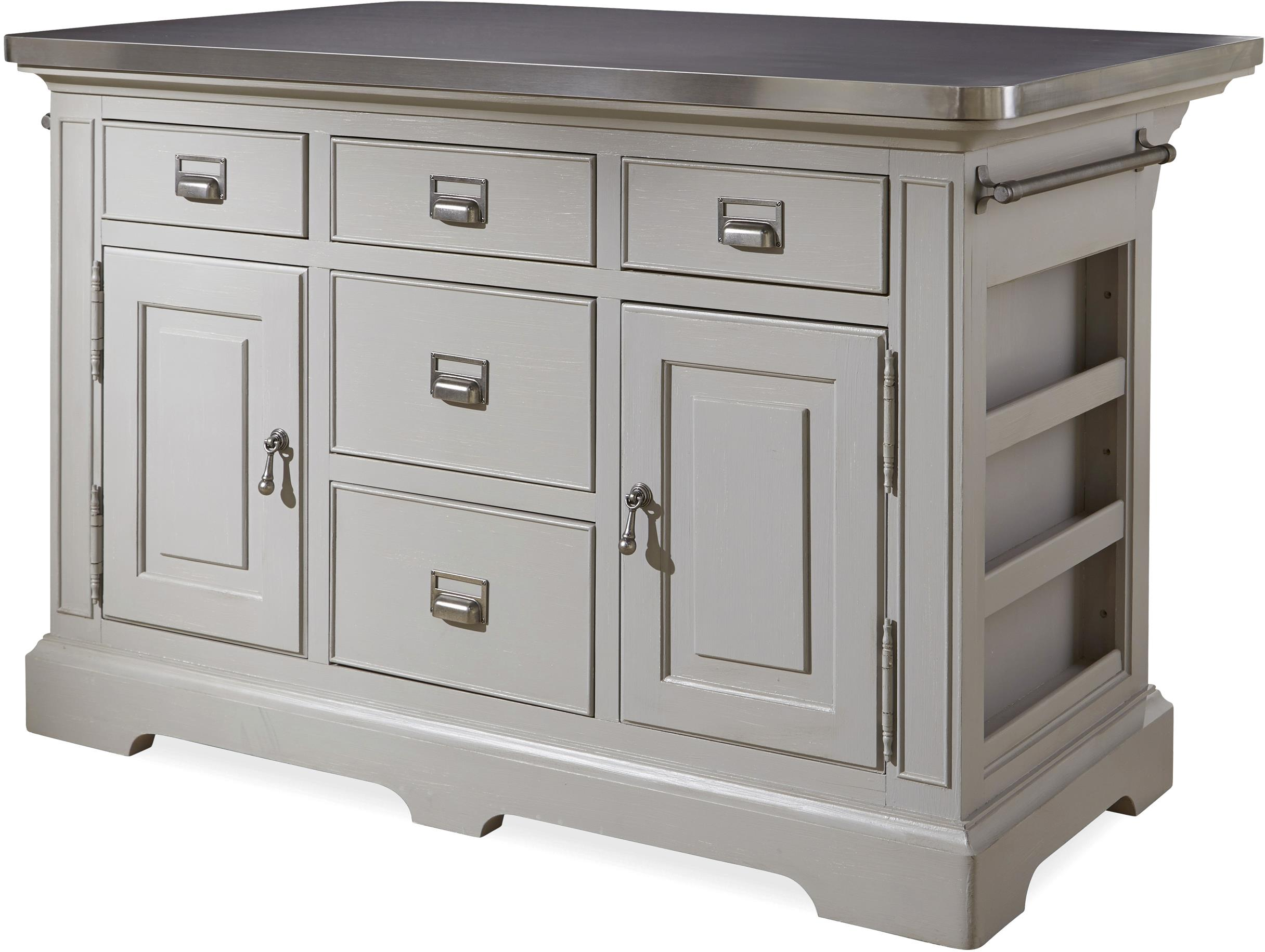 The Kitchen Island With Stainless Wrapped Metal Top By