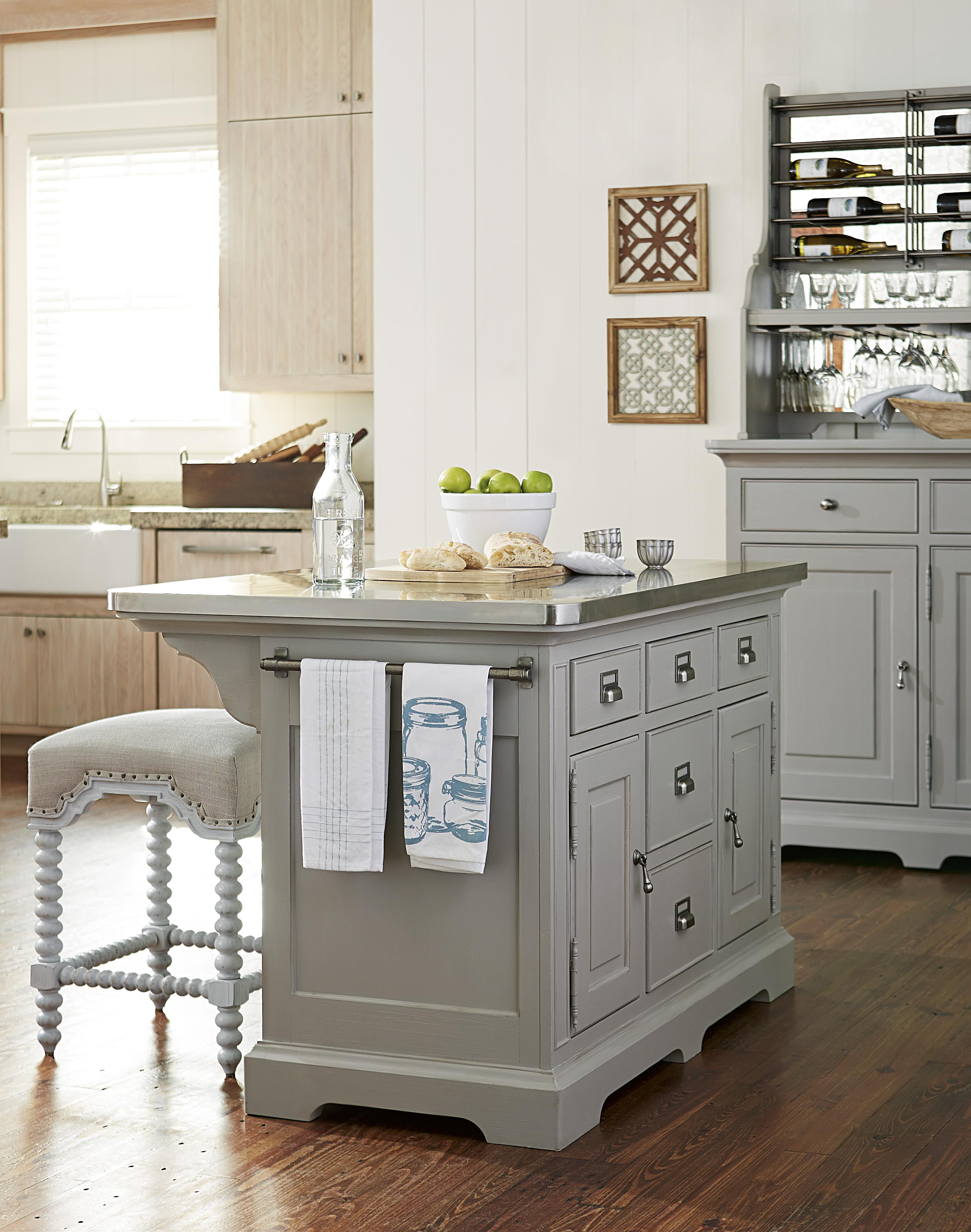 The Kitchen Island With Stainless Wrapped Metal Top By Paula Deen By Universal Wolf And