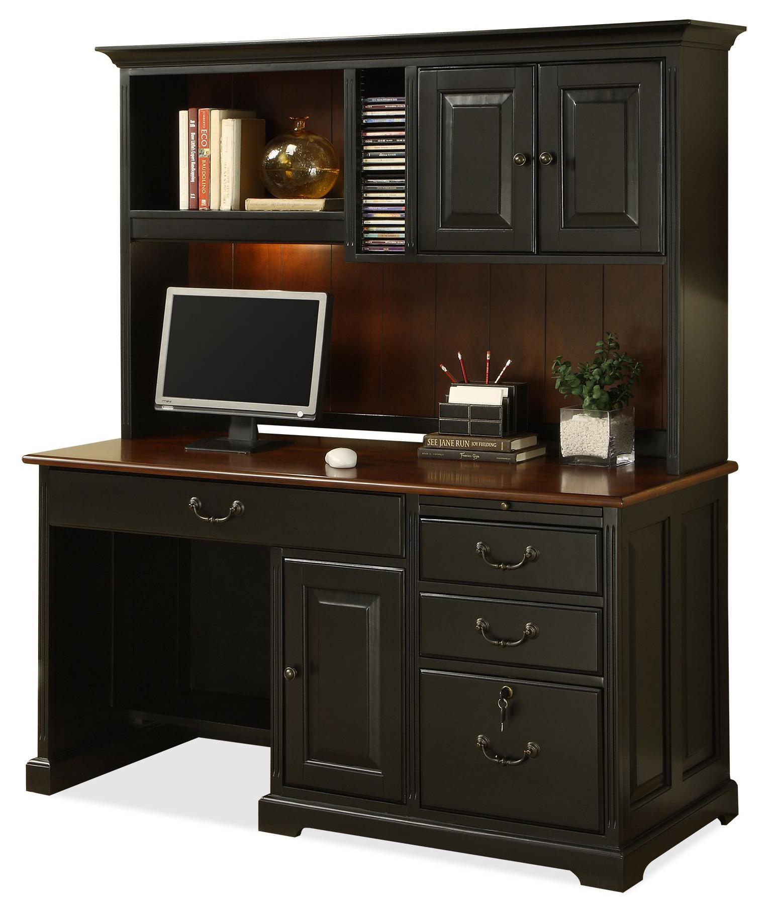 Single Pedestal puter Desk with Storage Hutch by