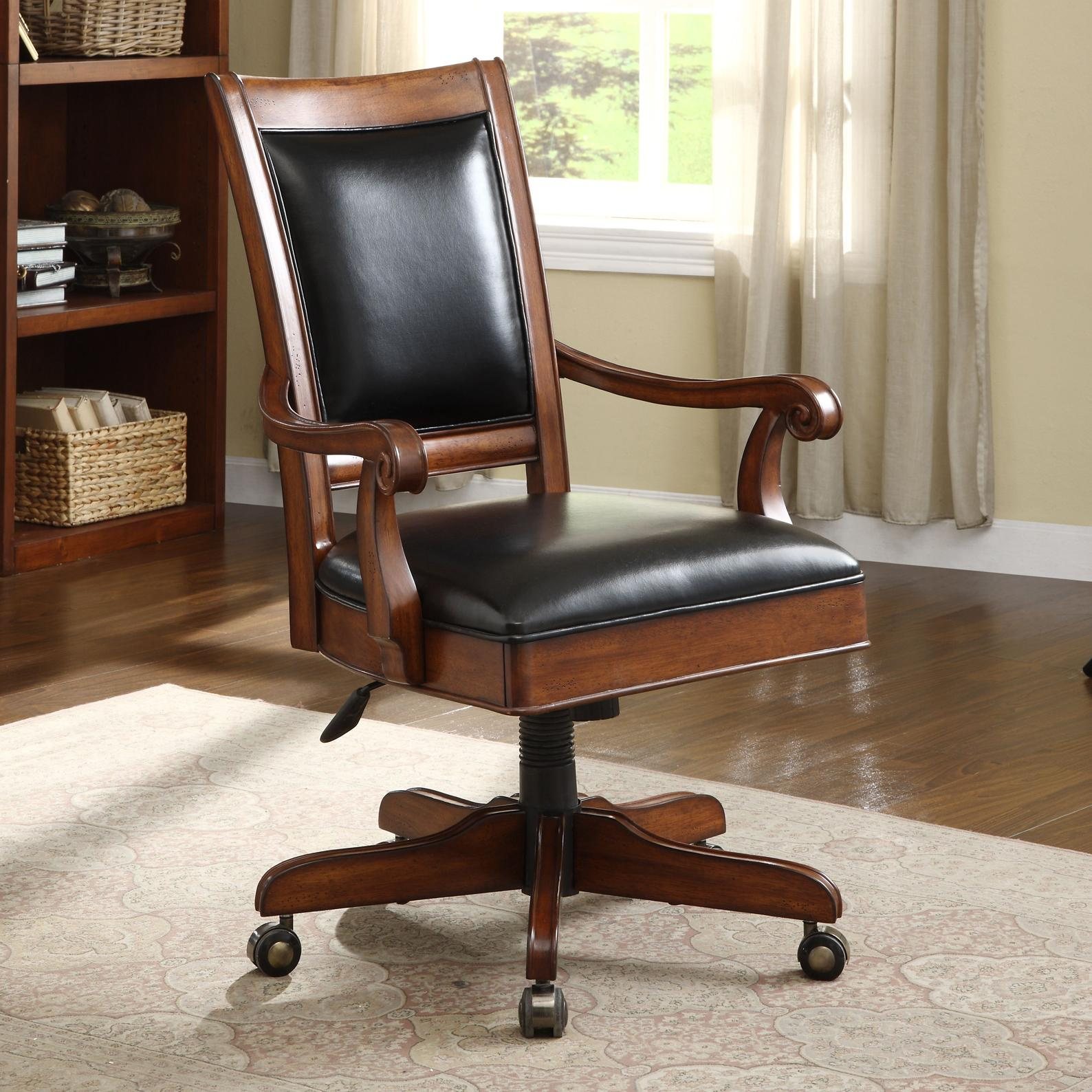 Caster Equipped Wooden Desk Chair With Leather Covered Seat By Riverside Furniture Wolf And
