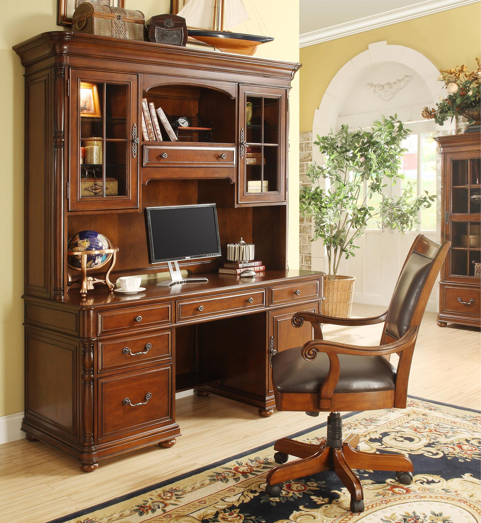 caster equipped wooden desk chair with leather covered seat by riverside furniture wolf and. Black Bedroom Furniture Sets. Home Design Ideas