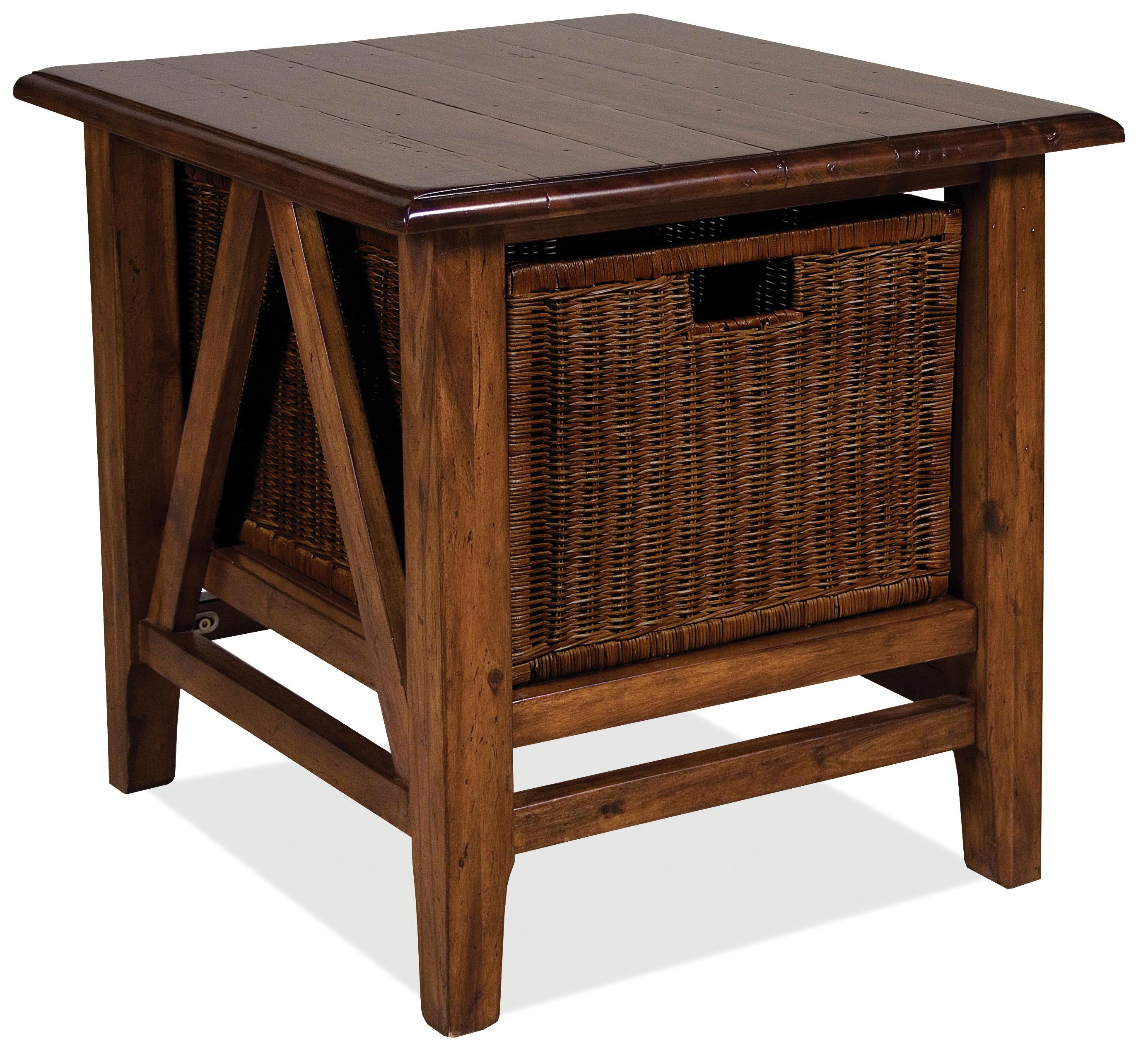Rectangular End Table With Storage Basket By Riverside