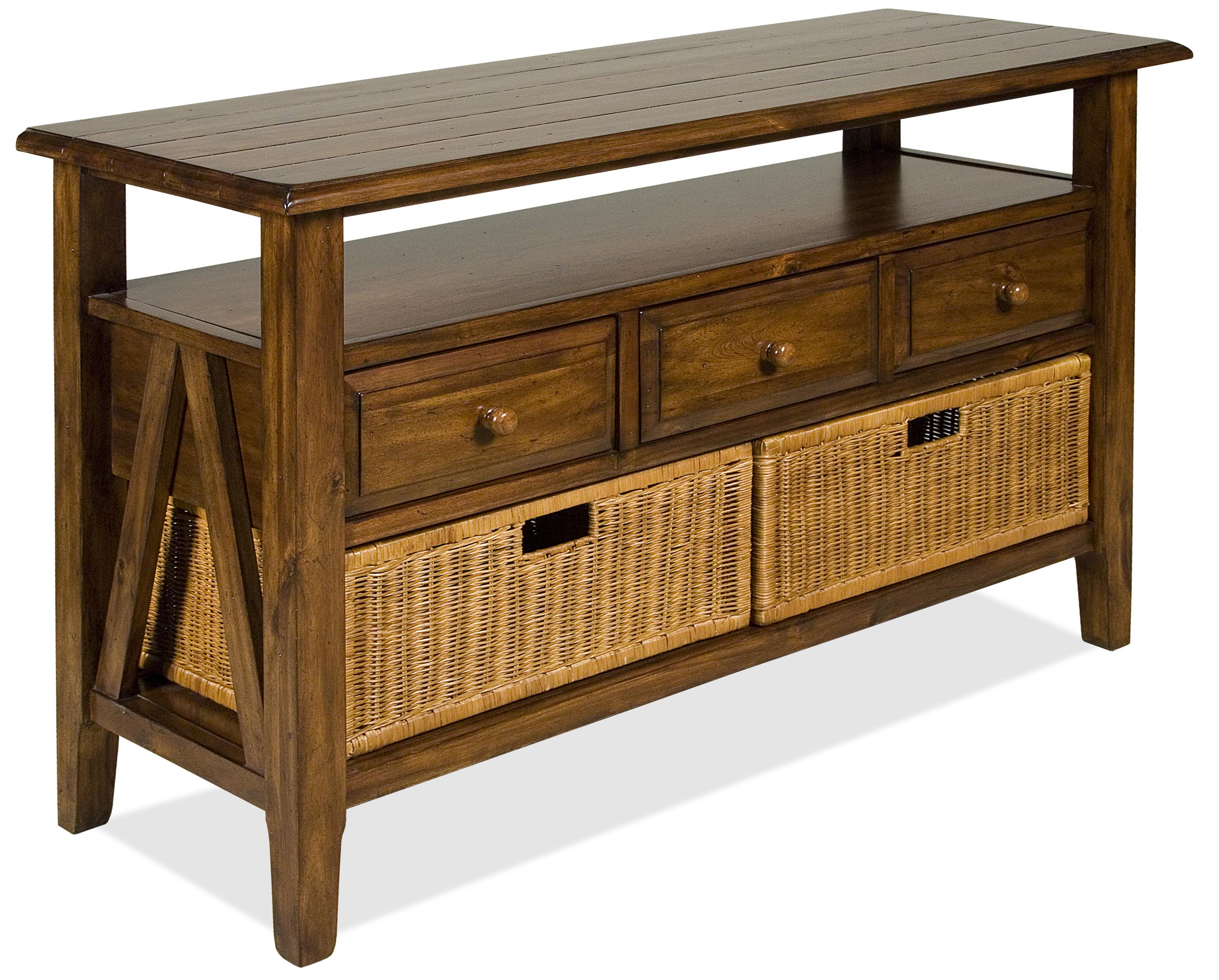 3 drawer console table with storage baskets by riverside Console tables with storage