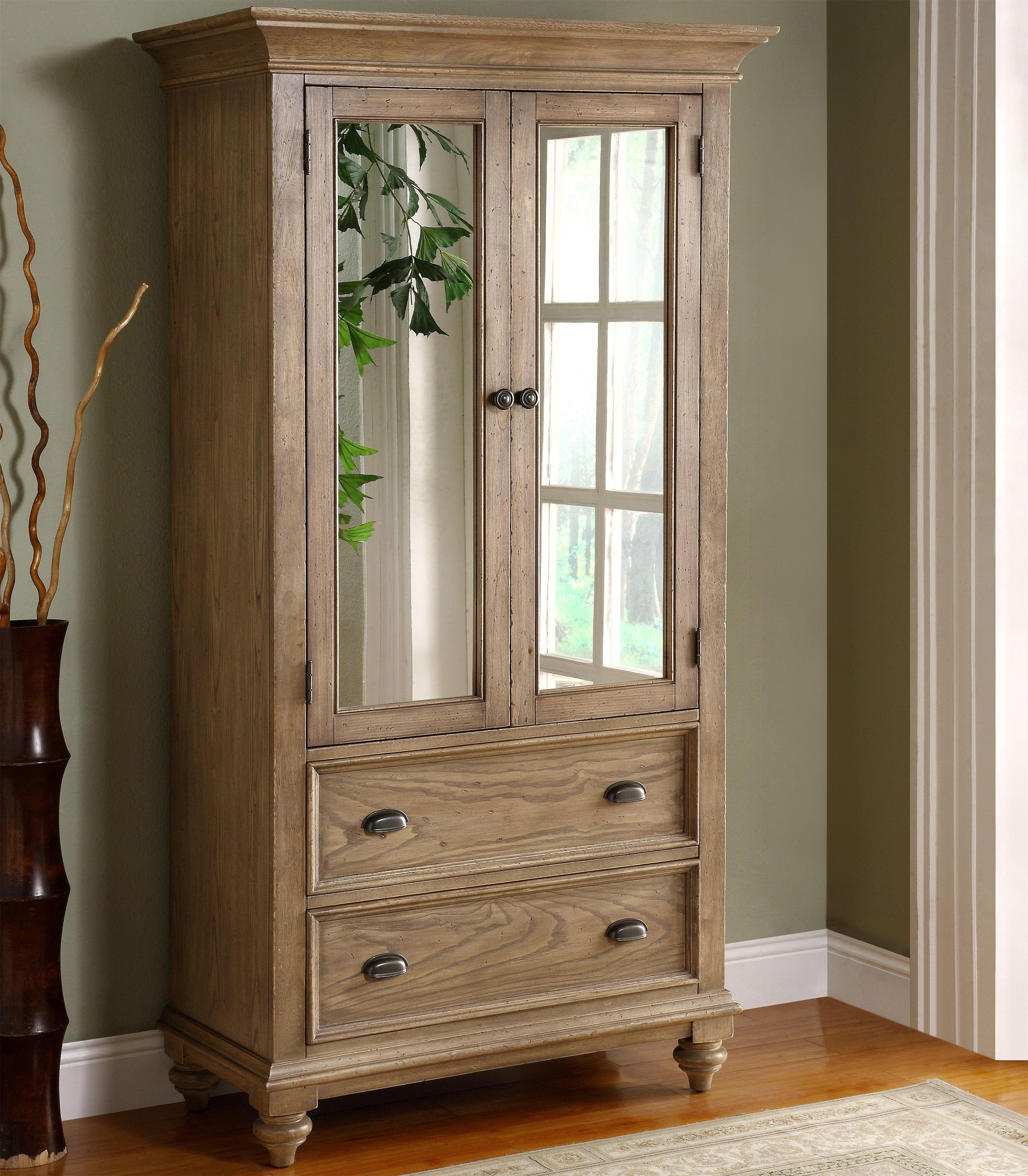 2 door mirror armoire with 5 drawers by riverside. Black Bedroom Furniture Sets. Home Design Ideas
