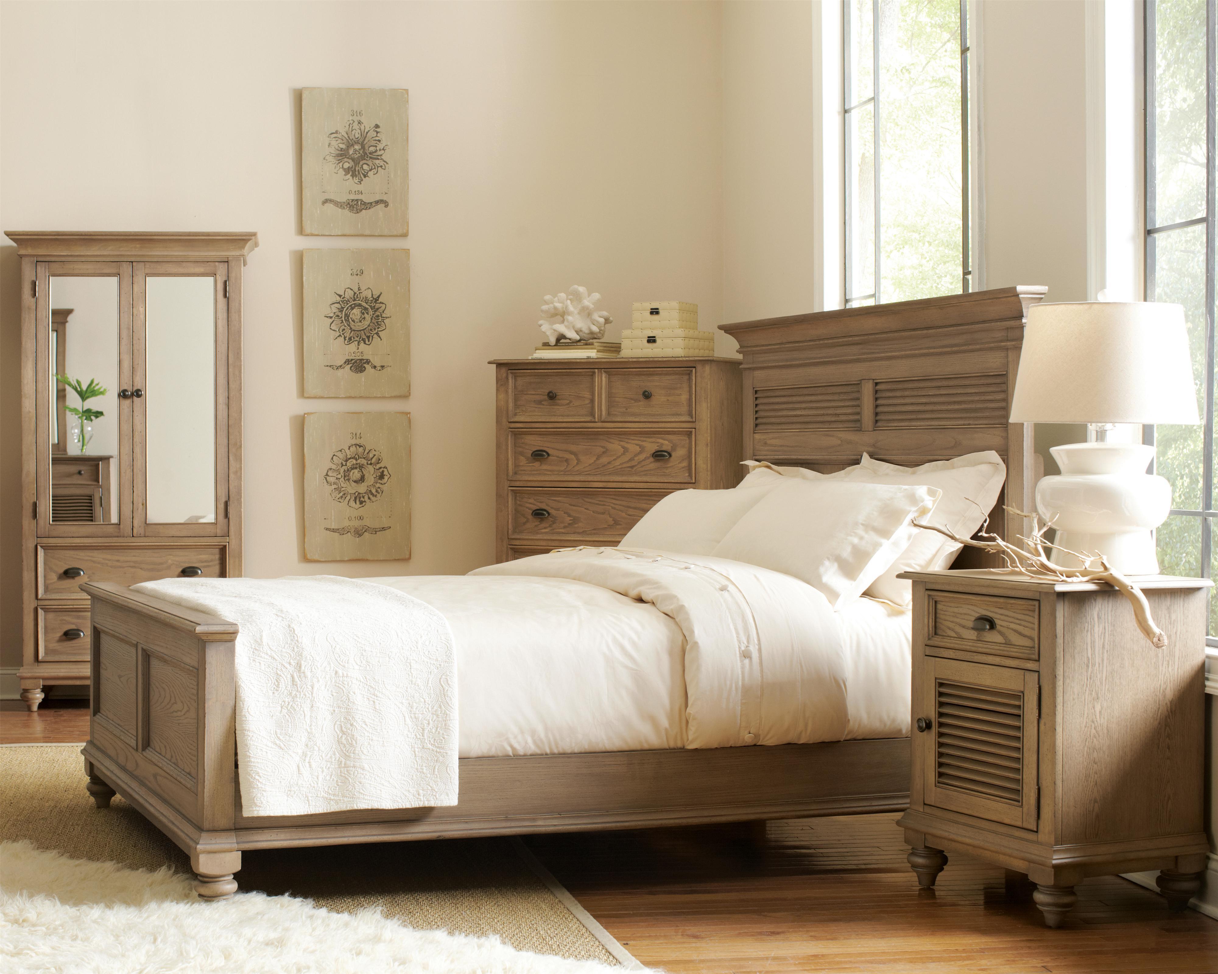 King shutter panel headboard footboard bed by riverside for Bedroom wardrobe shutter designs