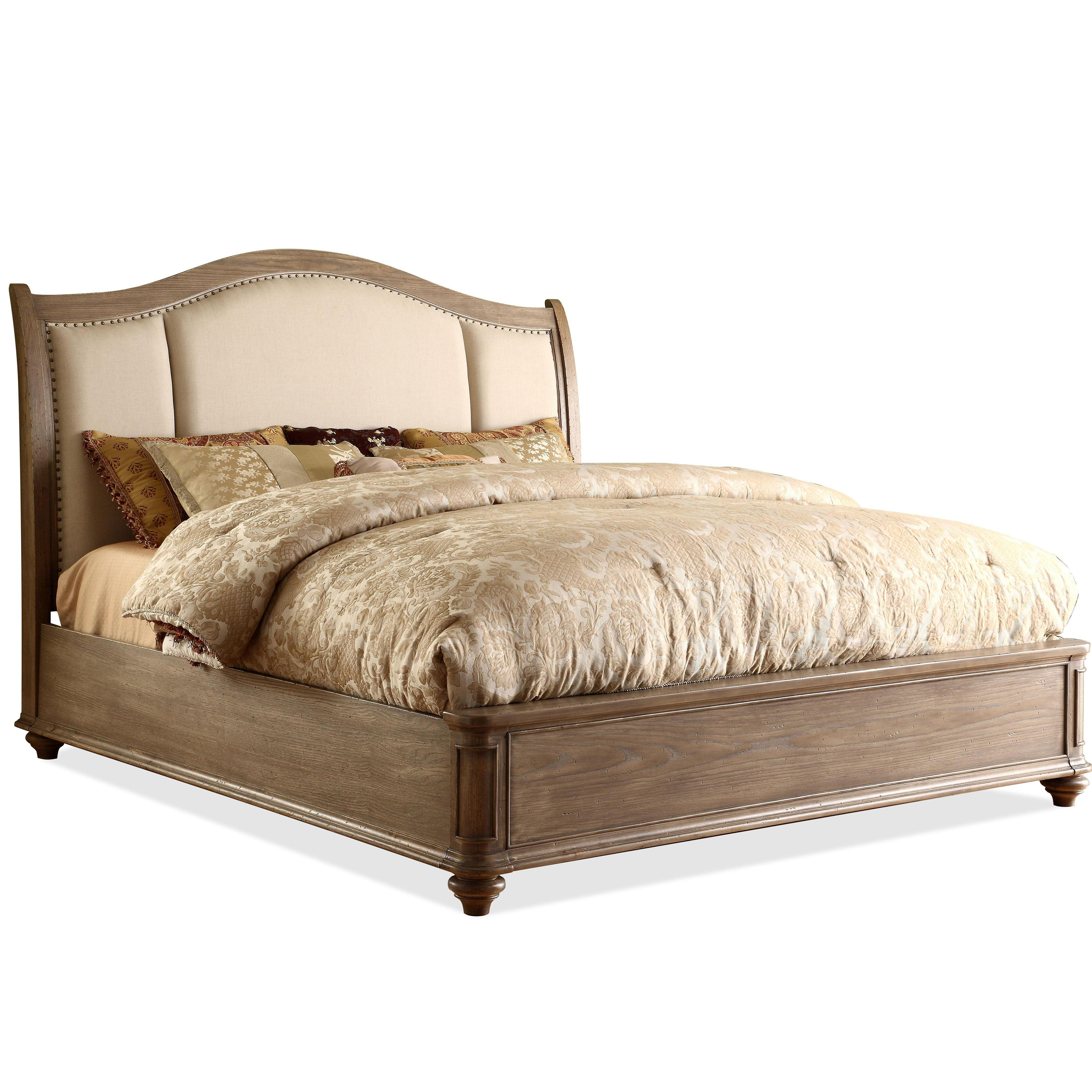 King Upholstered Sleigh Headboard Bed With Nail Head Trim By Riverside Furniture Wolf And