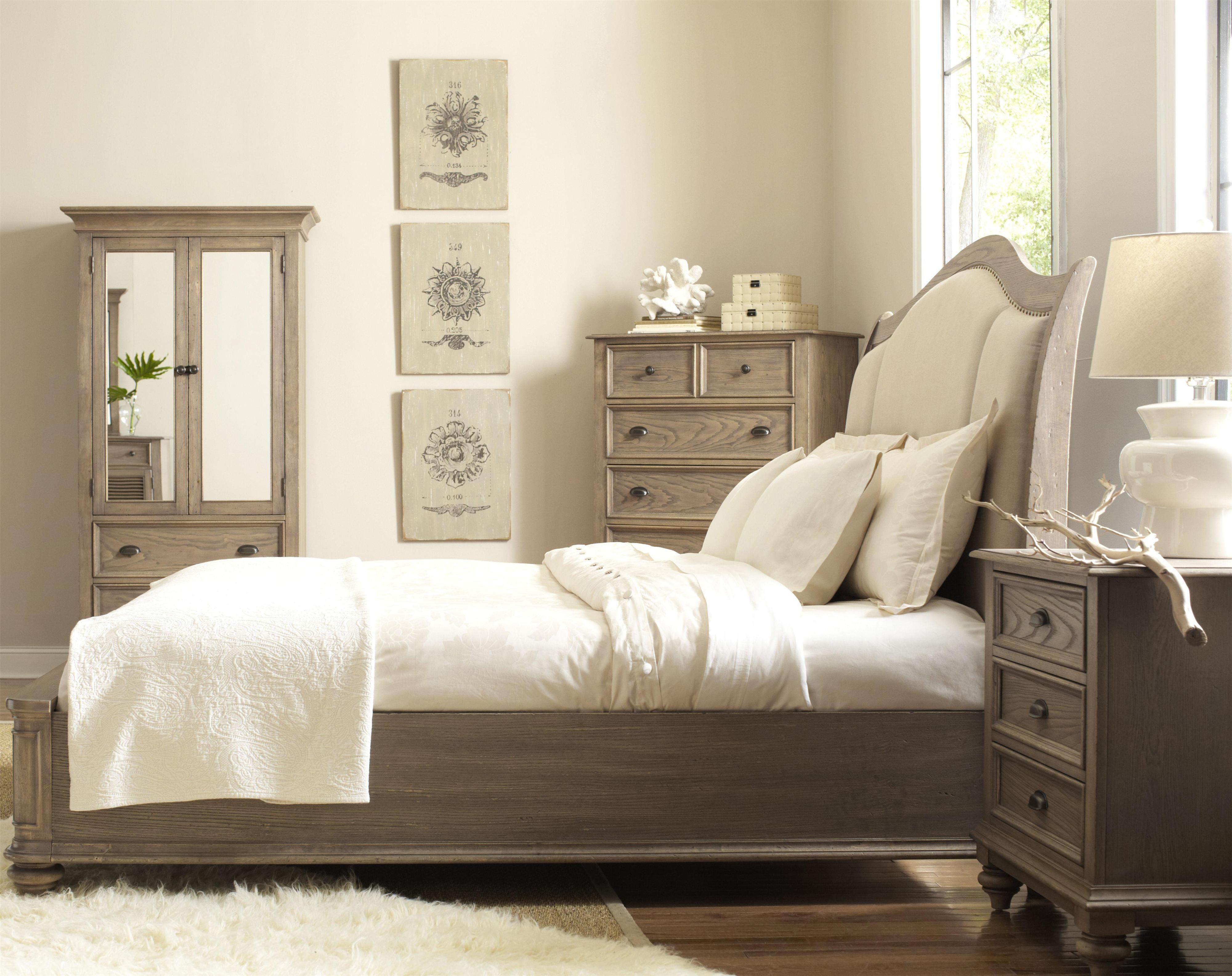 King Upholstered Sleigh Headboard Bed With Nail Head Trim