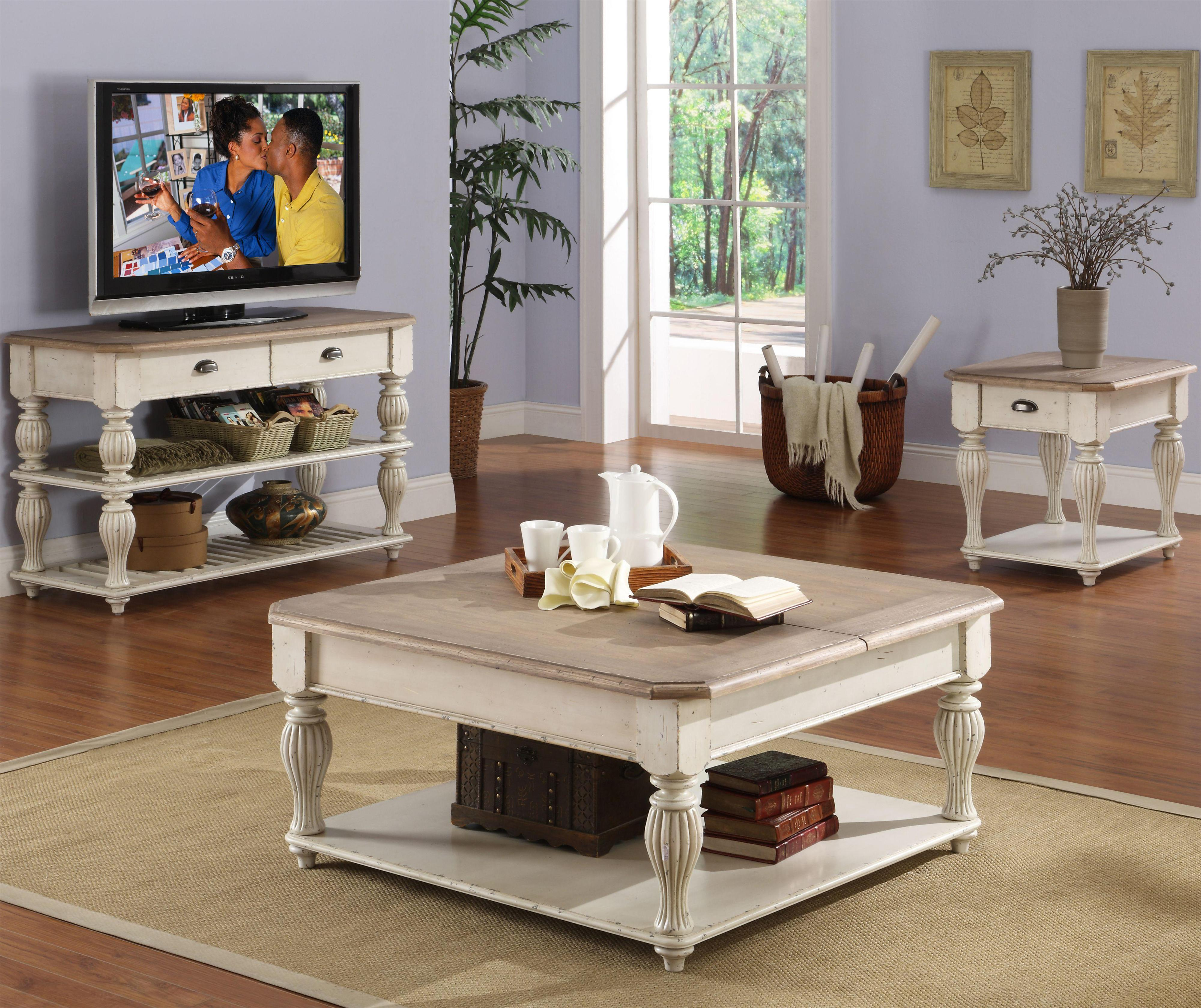 Square Lift-Top Coffee Table With Fixed Bottom Shelf By