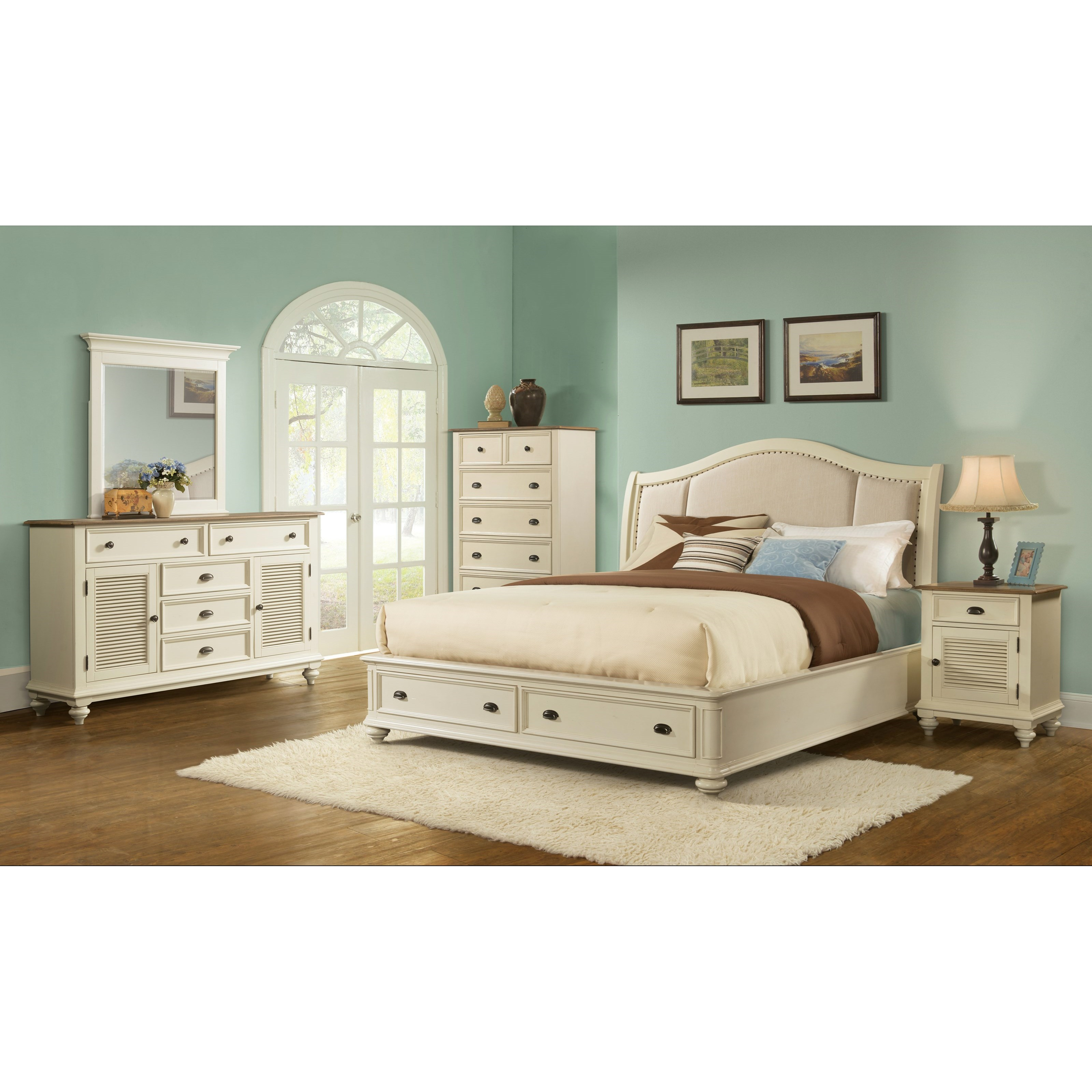 California King Sleigh Upholstered Storage Bed By Riverside Furniture Wolf And Gardiner Wolf