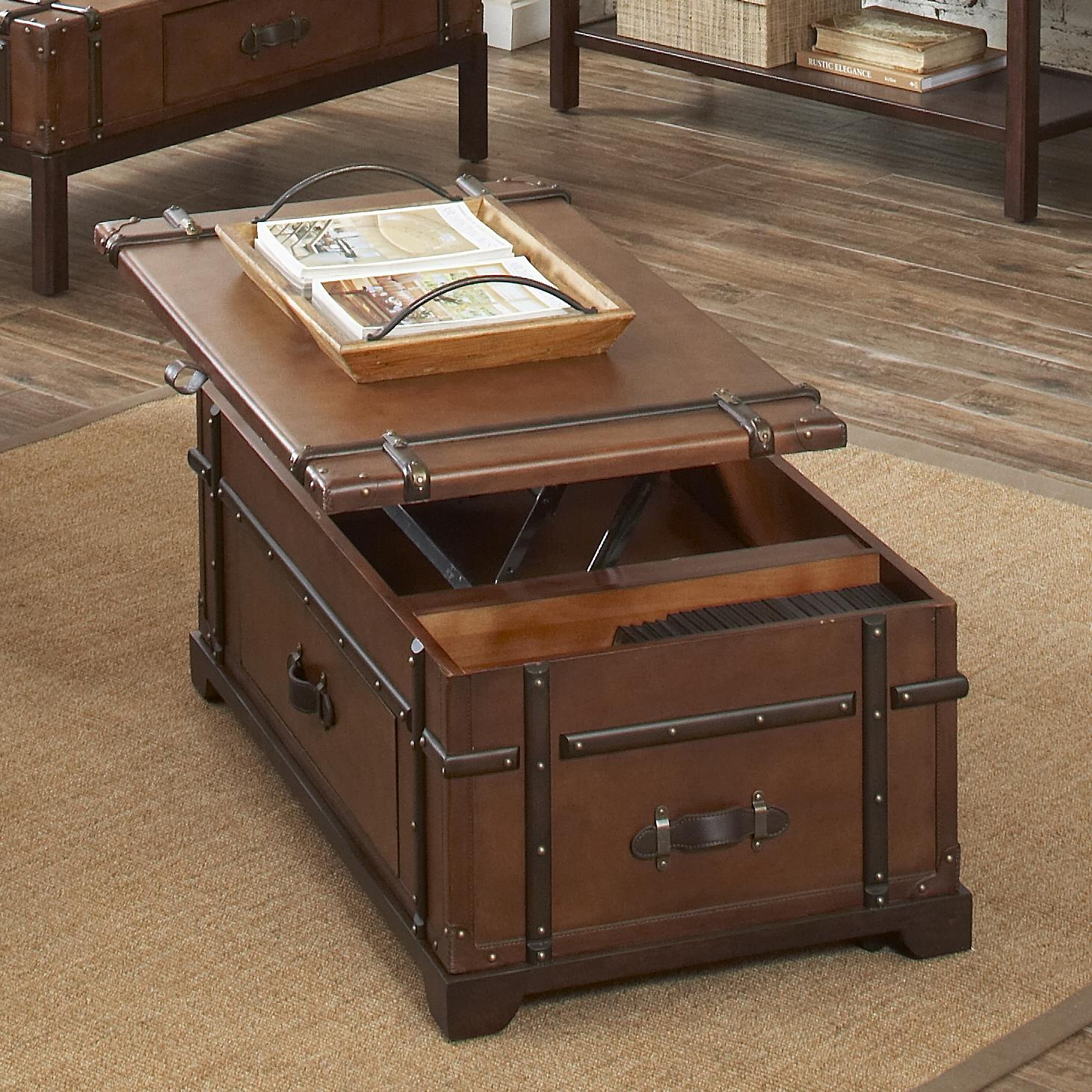 Steamer Trunk Lift Top Cocktail Table By Riverside Furniture Wolf And Gardiner Wolf Furniture