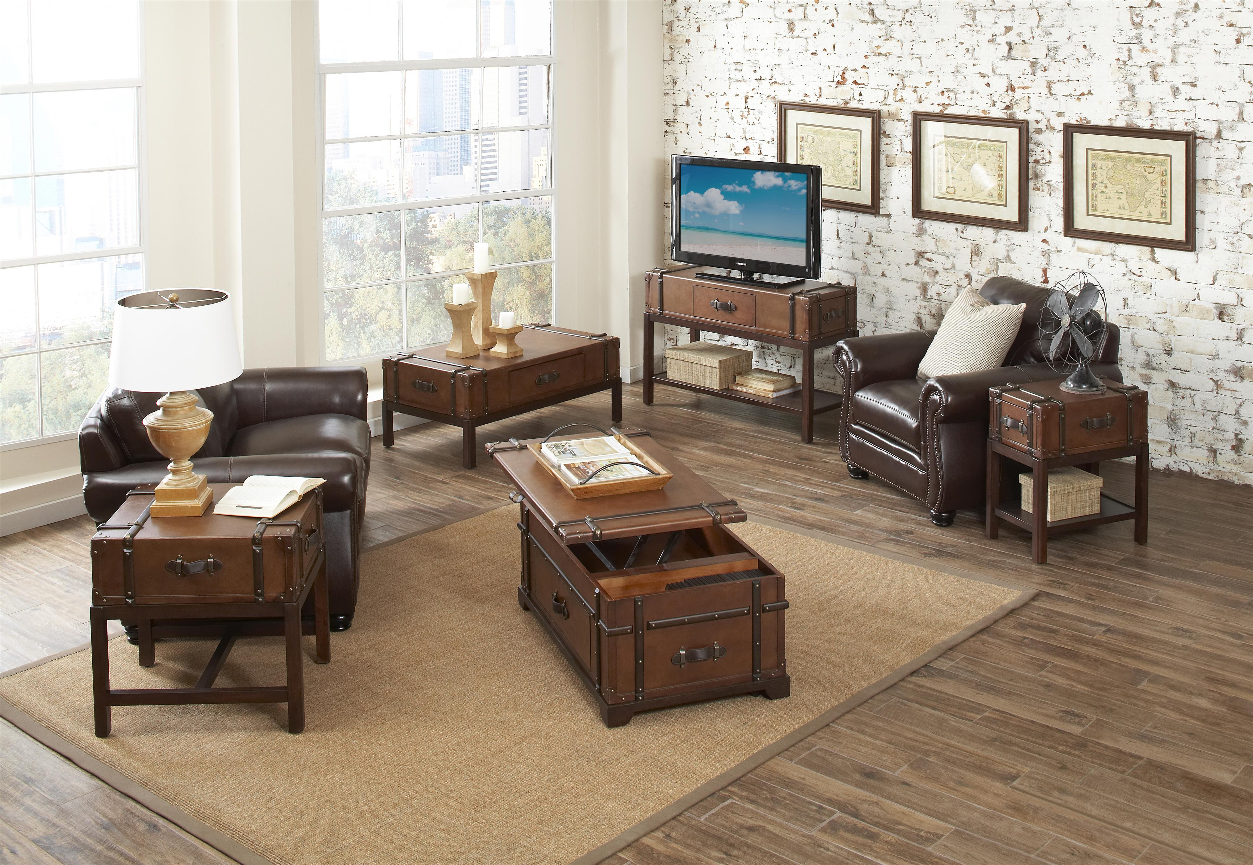 steamer trunk lift top cocktail table by riverside furniture wolf and gardiner wolf furniture. Black Bedroom Furniture Sets. Home Design Ideas