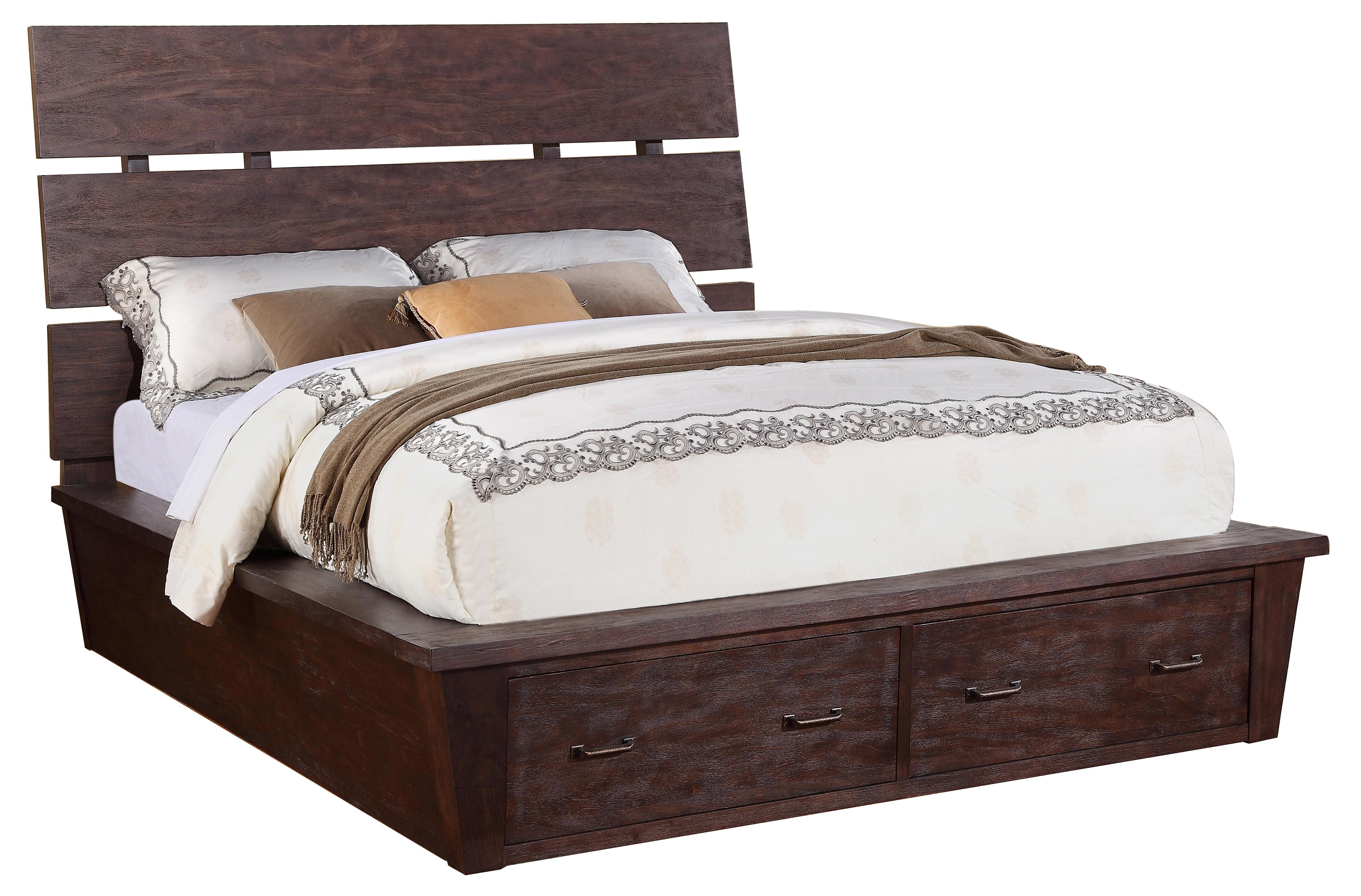 queen platform storage bed with 2 drawers by riverside furniture wolf and gardiner wolf furniture. Black Bedroom Furniture Sets. Home Design Ideas