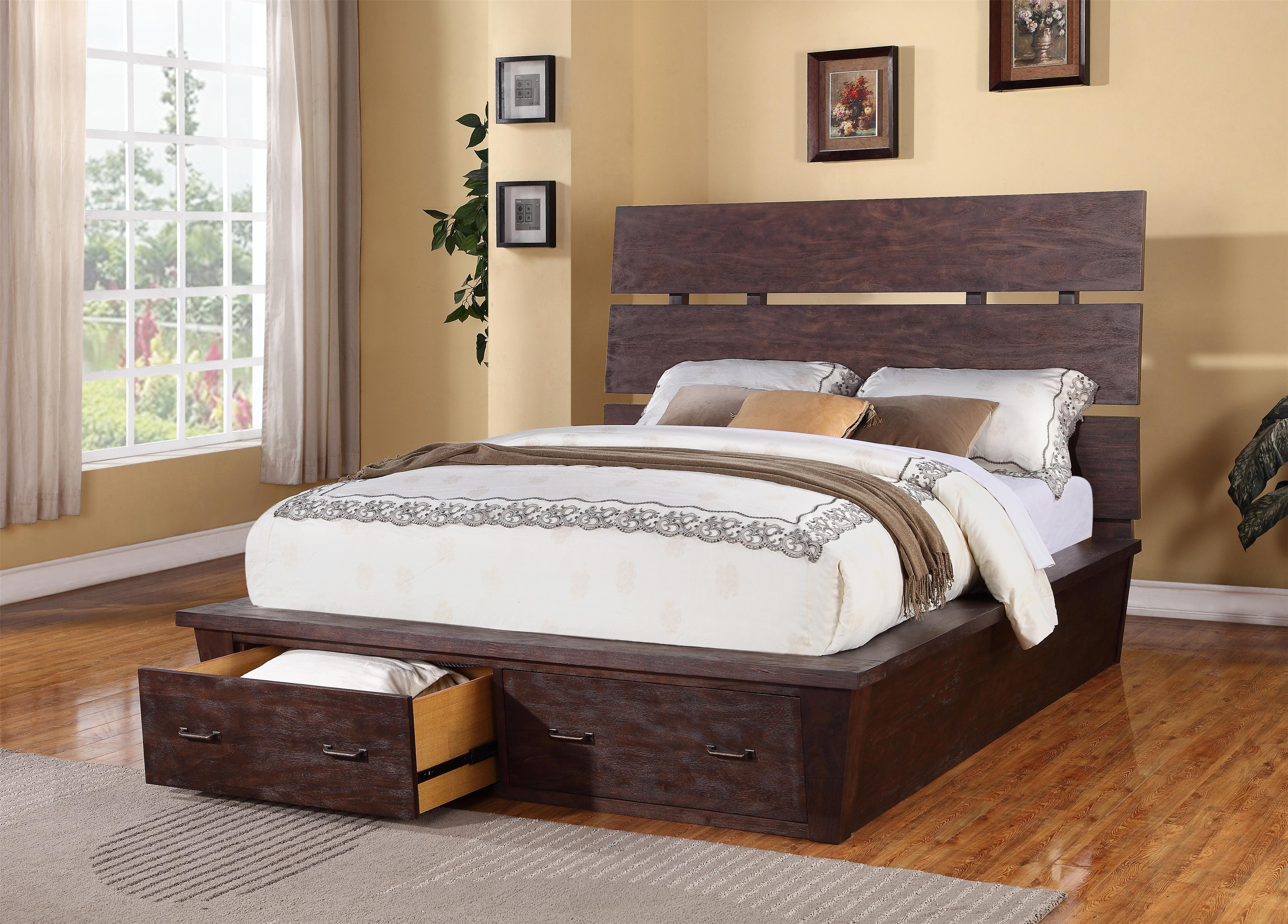 Queen platform storage bed with 2 drawers by riverside for Couch 90x200