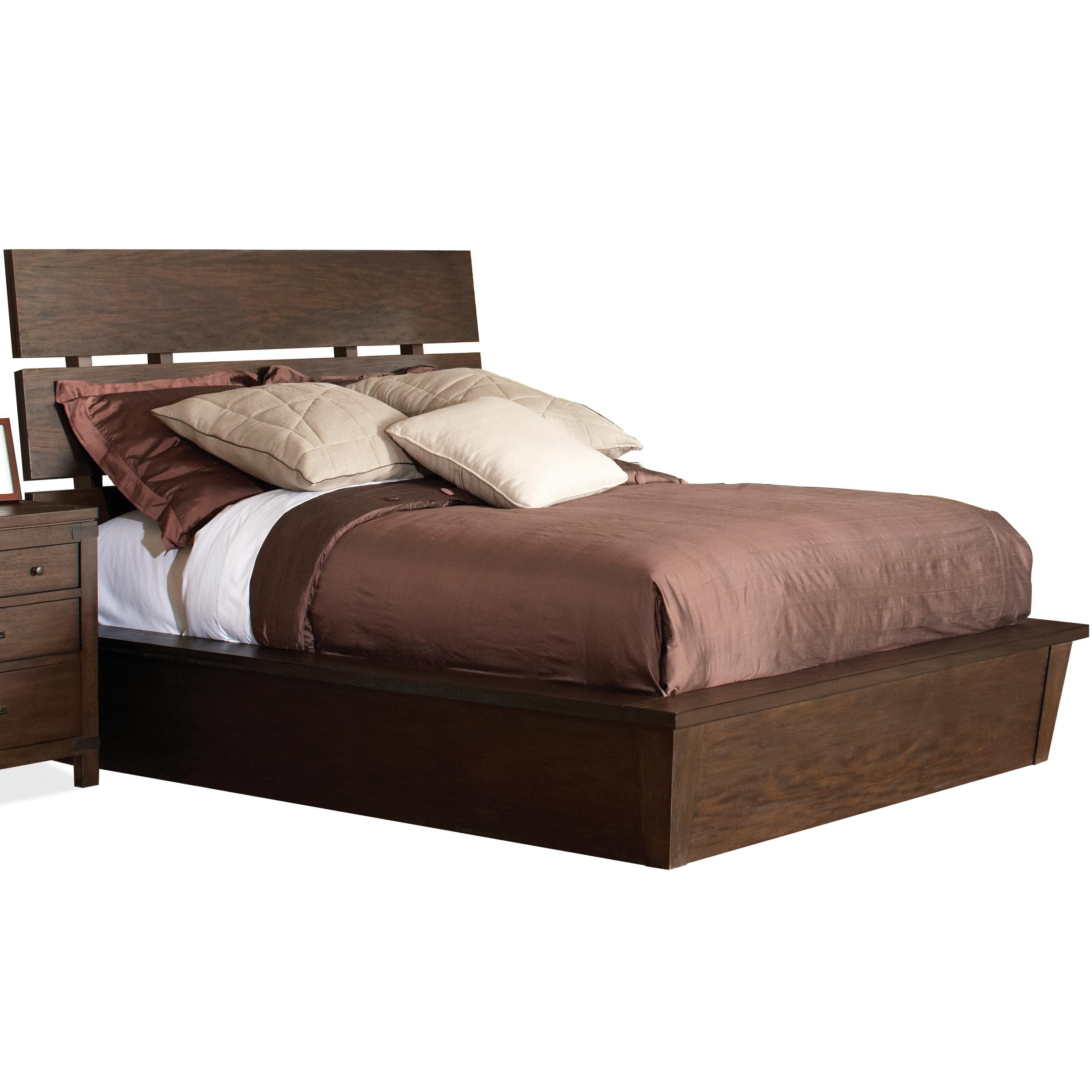 Queen platform bed by riverside furniture wolf and for Pedestal bed
