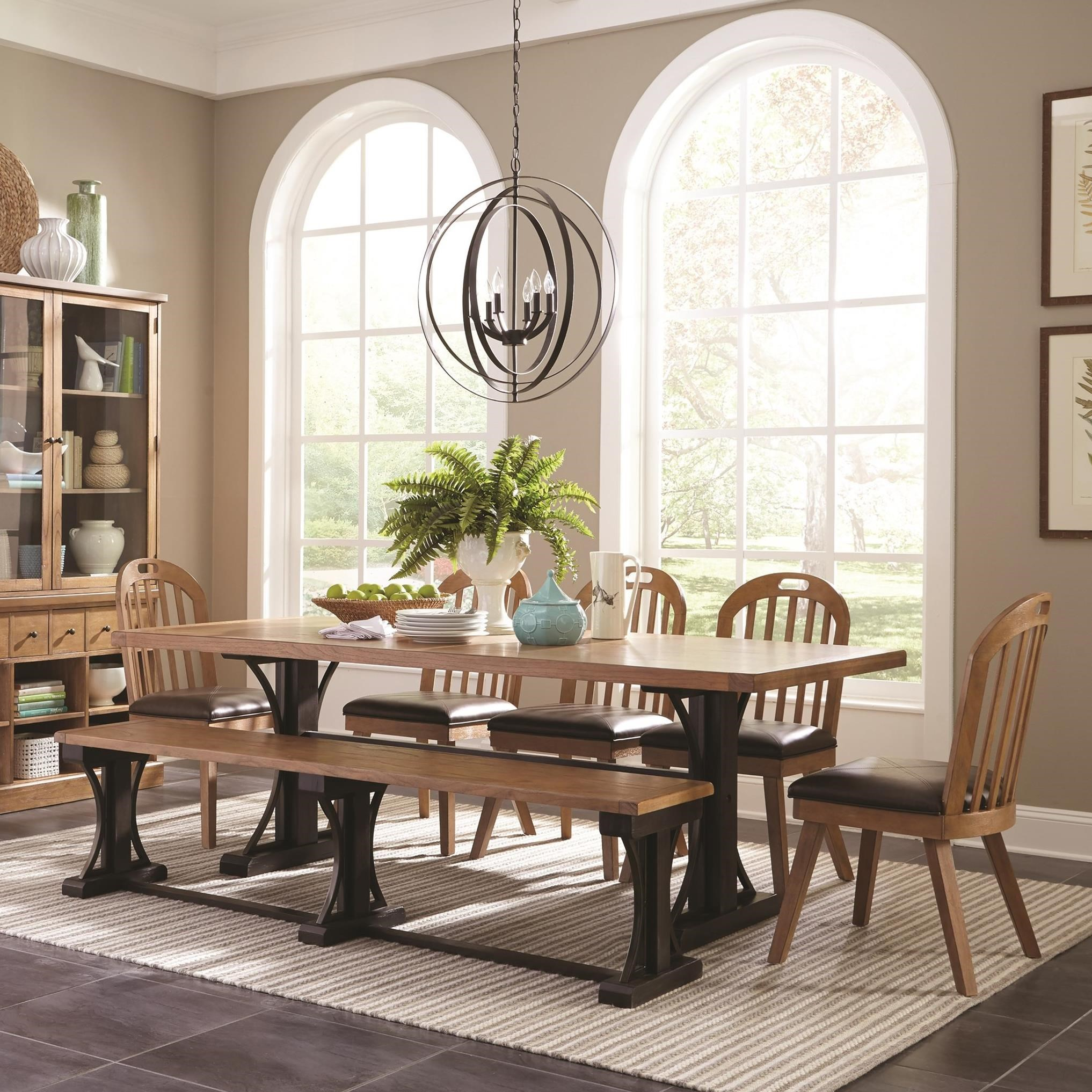 French farmhouse dining table set with bench by scott for French farmhouse dining chairs