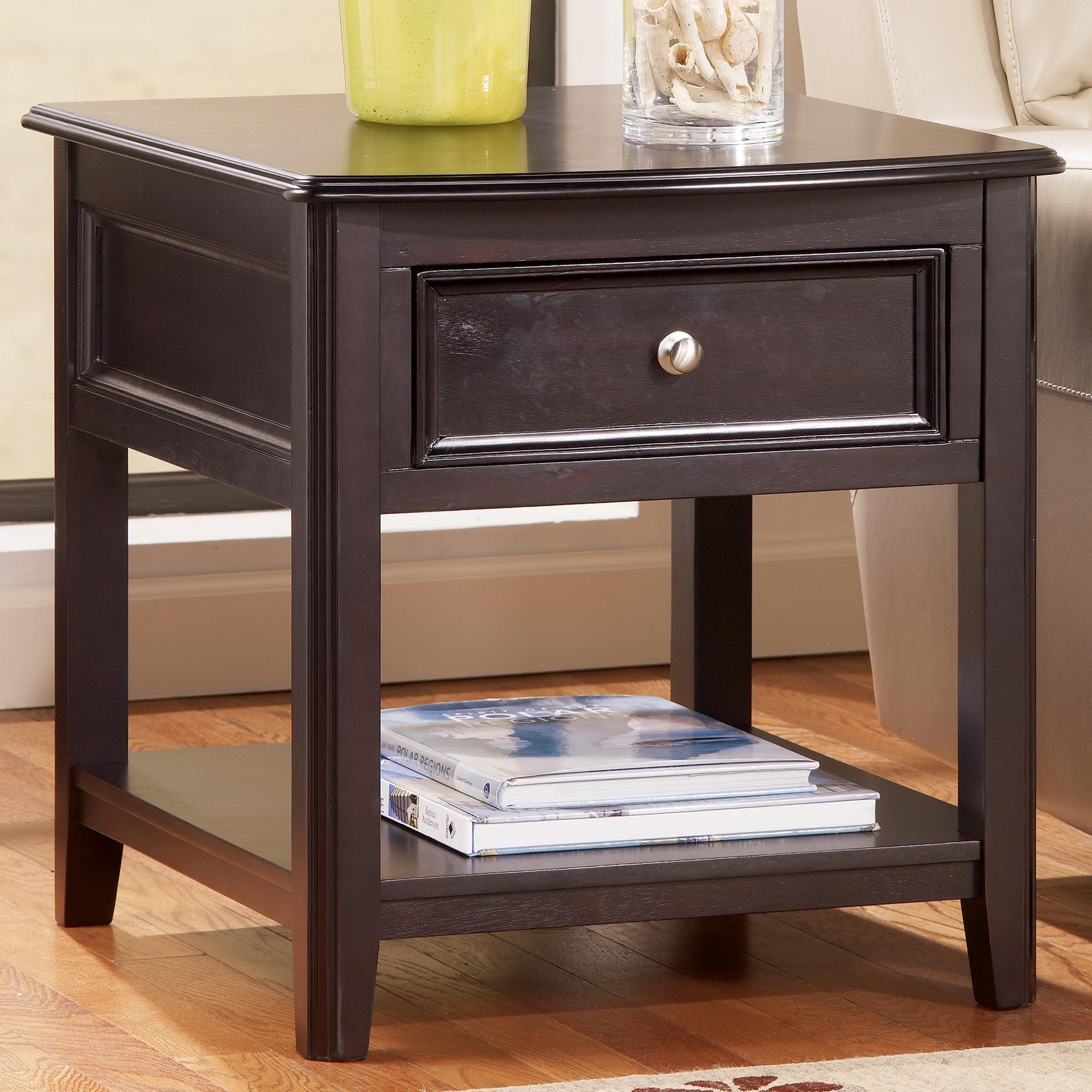 rectangular end table with drawer and bottom shelf by signature design by ashley wolf and. Black Bedroom Furniture Sets. Home Design Ideas