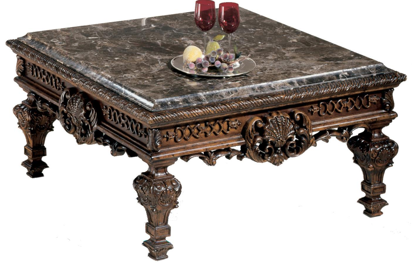 Ornate Square Cocktail Table With Stone Top By Signature Design By