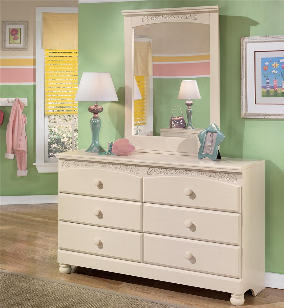 6 drawer dresser and mirror by signature design by ashley wolf and gardiner wolf furniture Cottage retreat collection bedroom furniture