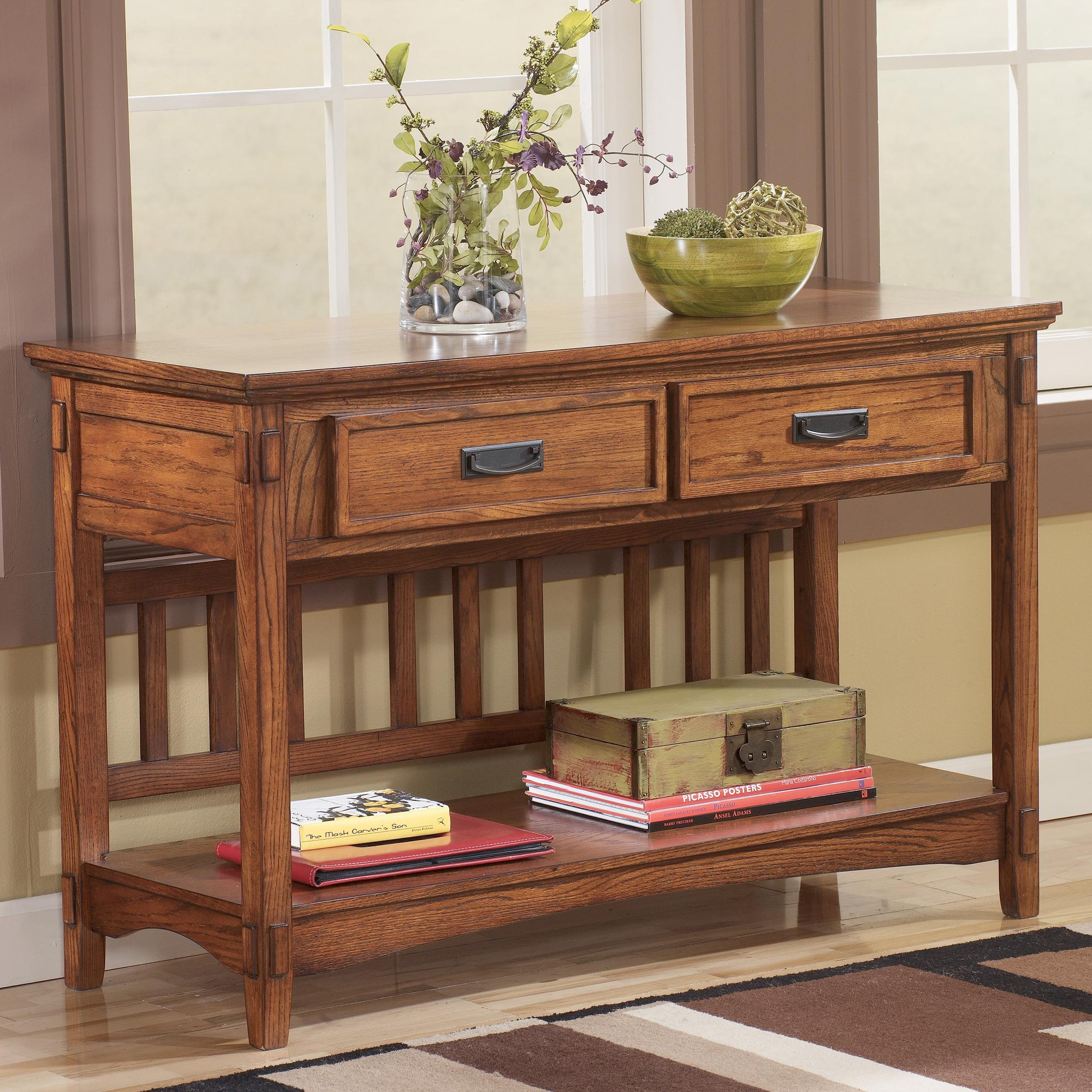 Mission sofa console table by signature design by ashley for Sofa table console