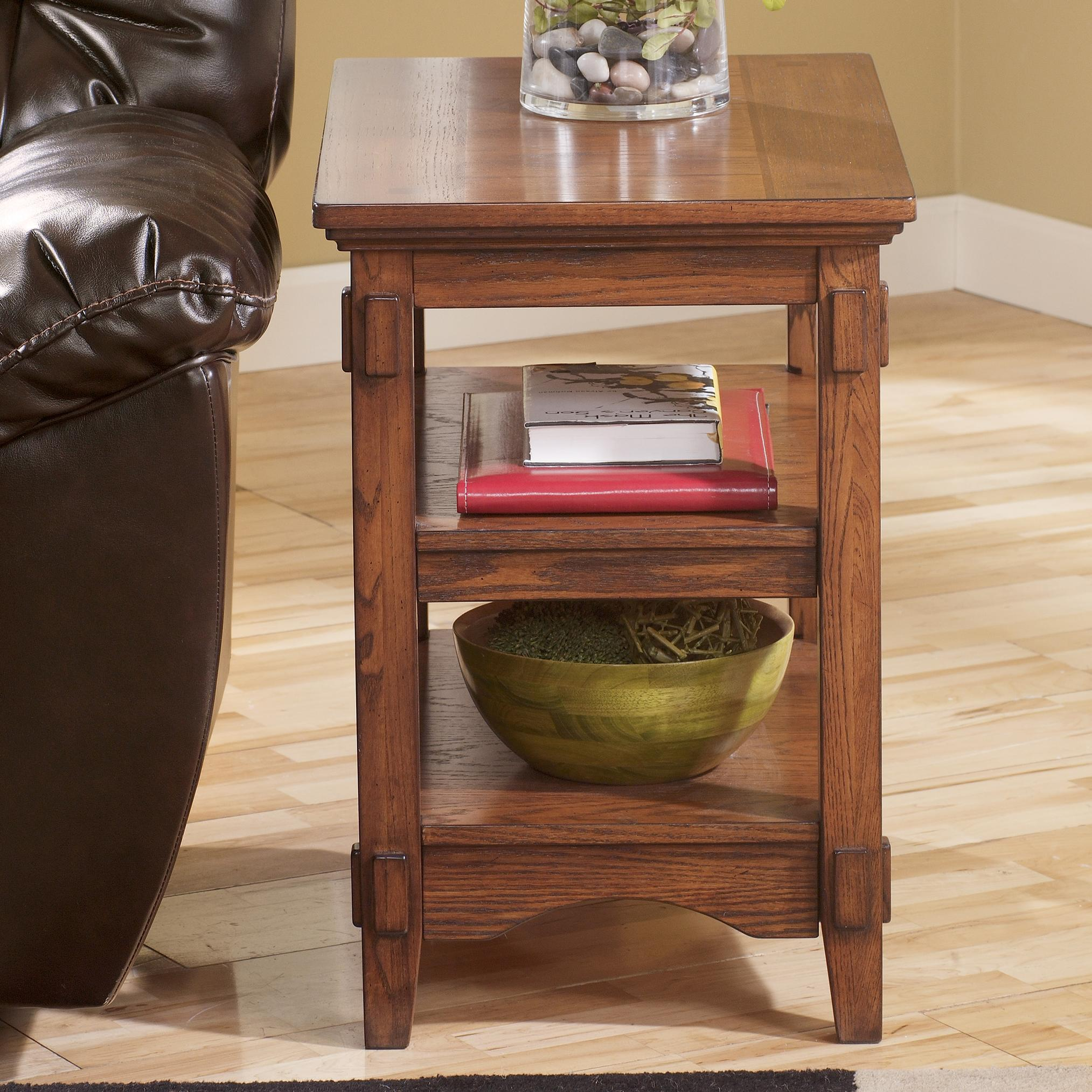 mission chairside end table w 2 open shelves by signature design by ashley wolf and gardiner. Black Bedroom Furniture Sets. Home Design Ideas
