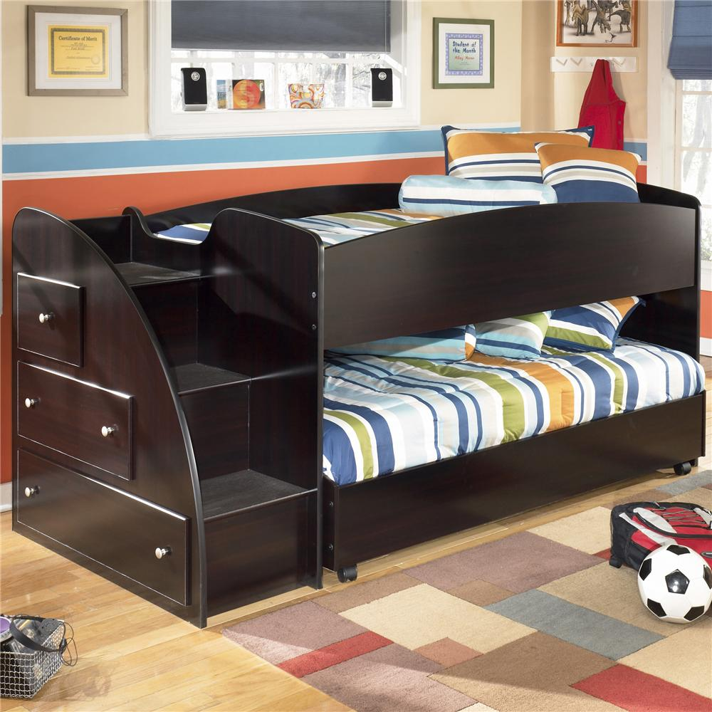 Twin Loft Bed With Caster Bed And Left Storage Steps By