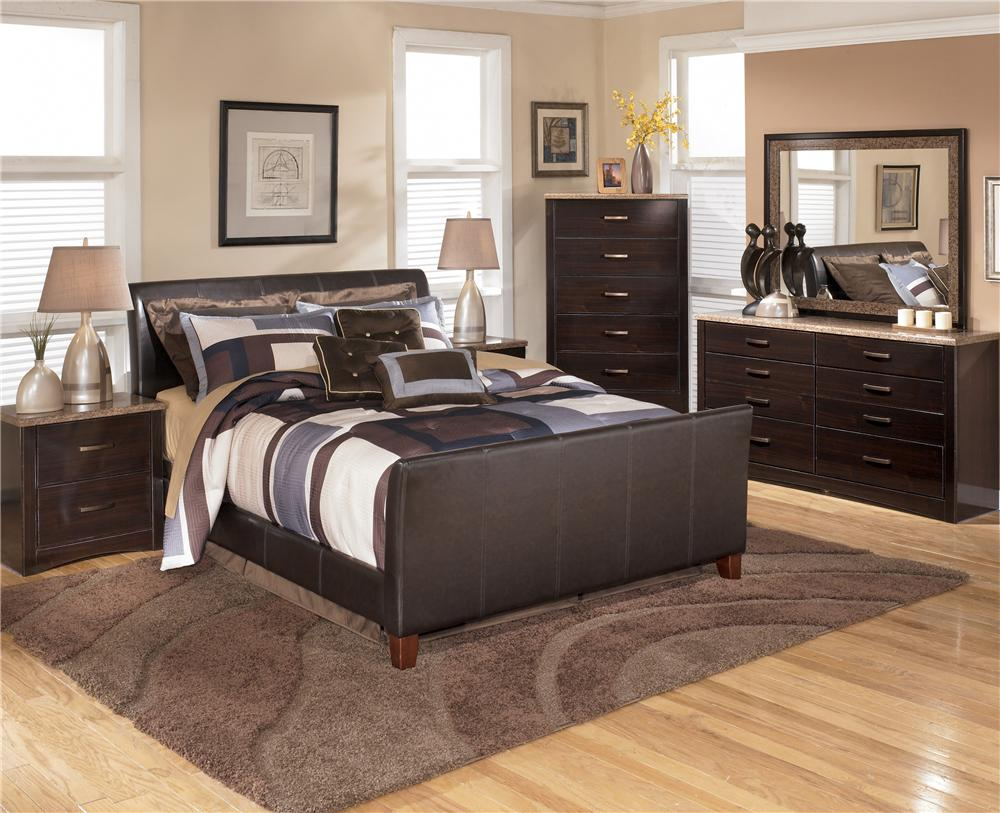 Queen Faux Leather Upholstered Sleigh Bed by Signature