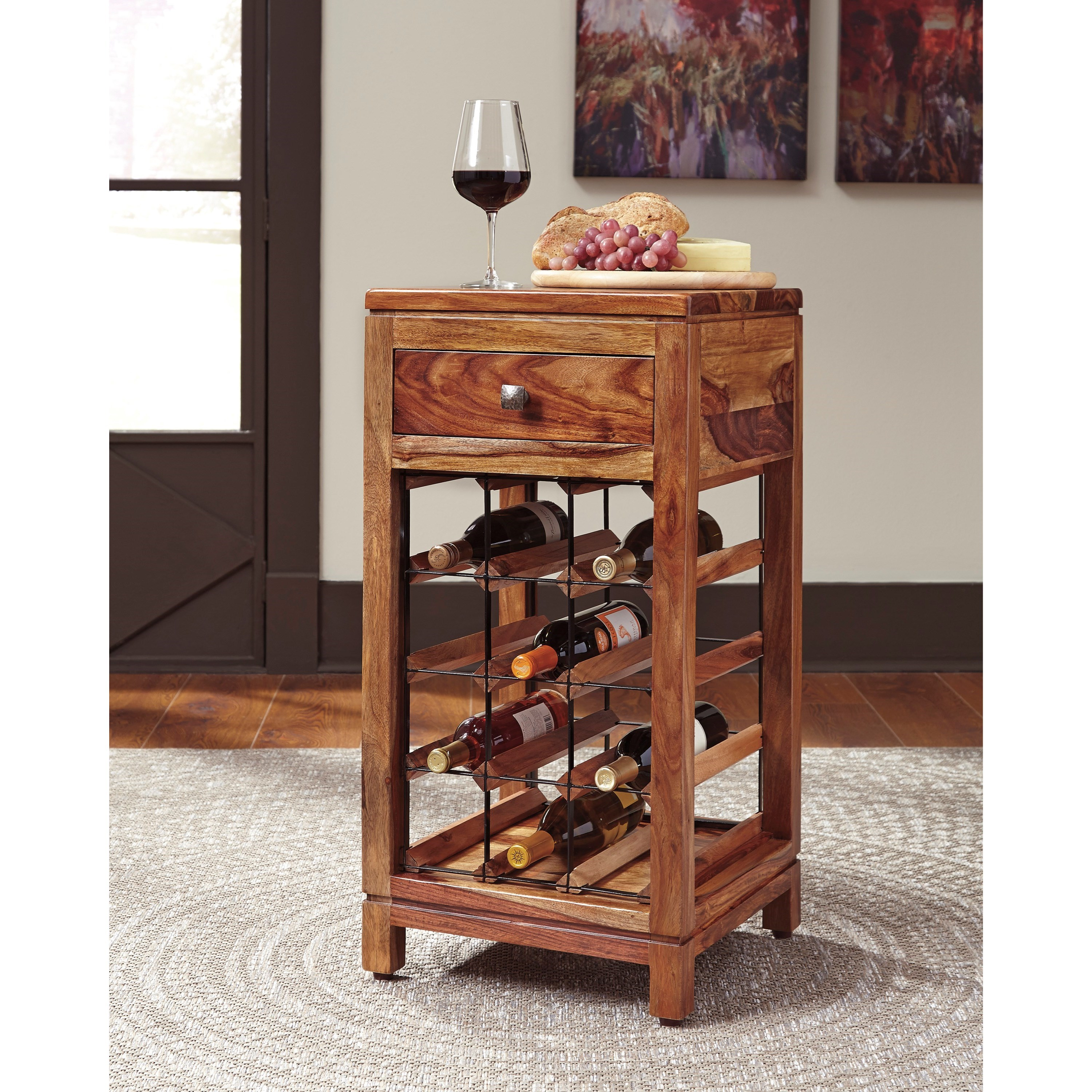 Sheesham solid wood wine cabinet by signature design by for Wine and design west ashley