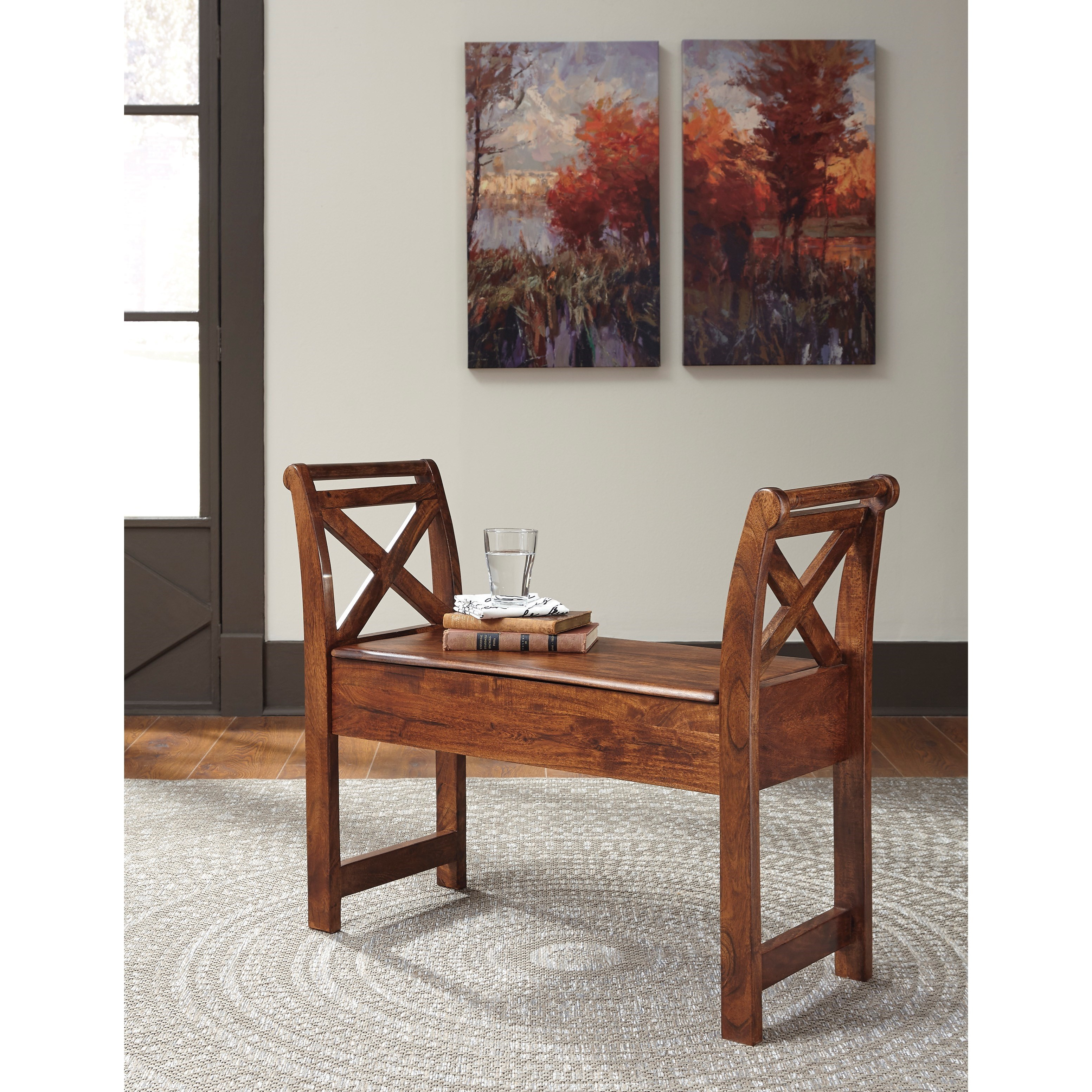 Acacia solid wood accent bench with storage by signature for Wine and design west ashley