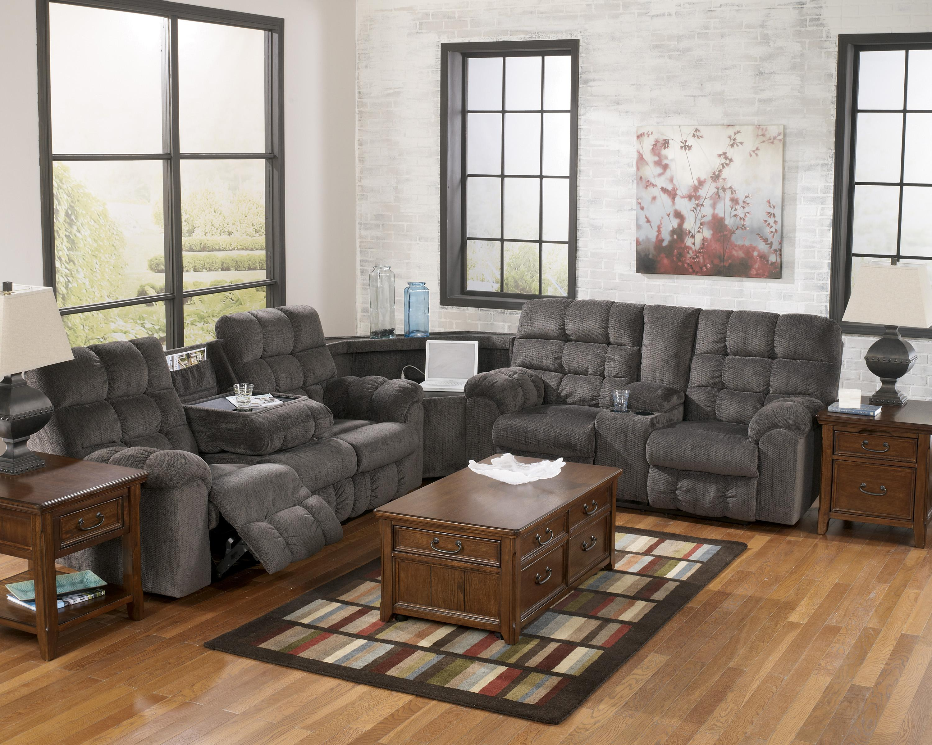 Reclining sectional sofa with right side loveseat cup for Sectional sofa wedge table