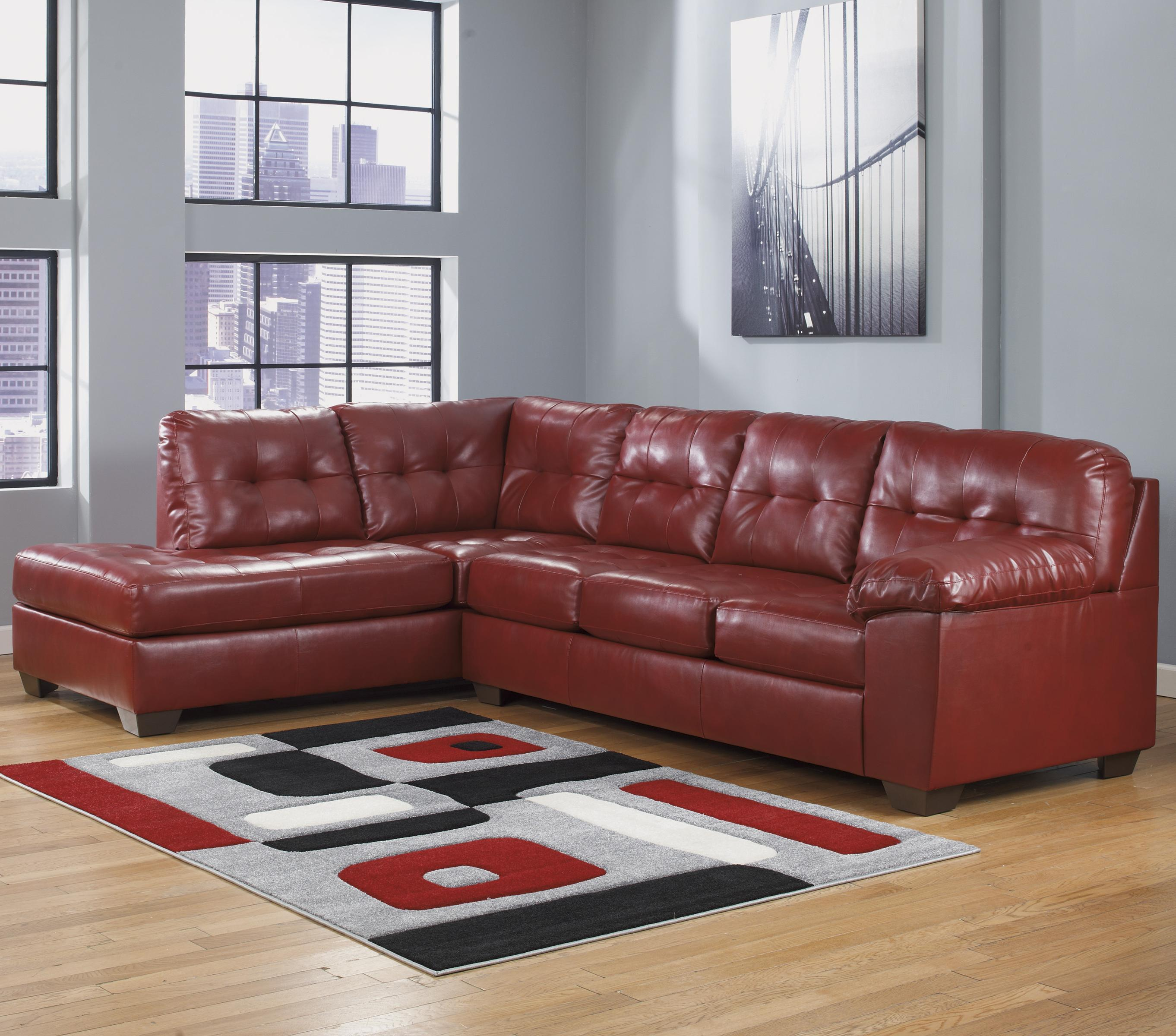 faux leather sectional w left chaise tufting by signature design by ashley wolf and. Black Bedroom Furniture Sets. Home Design Ideas