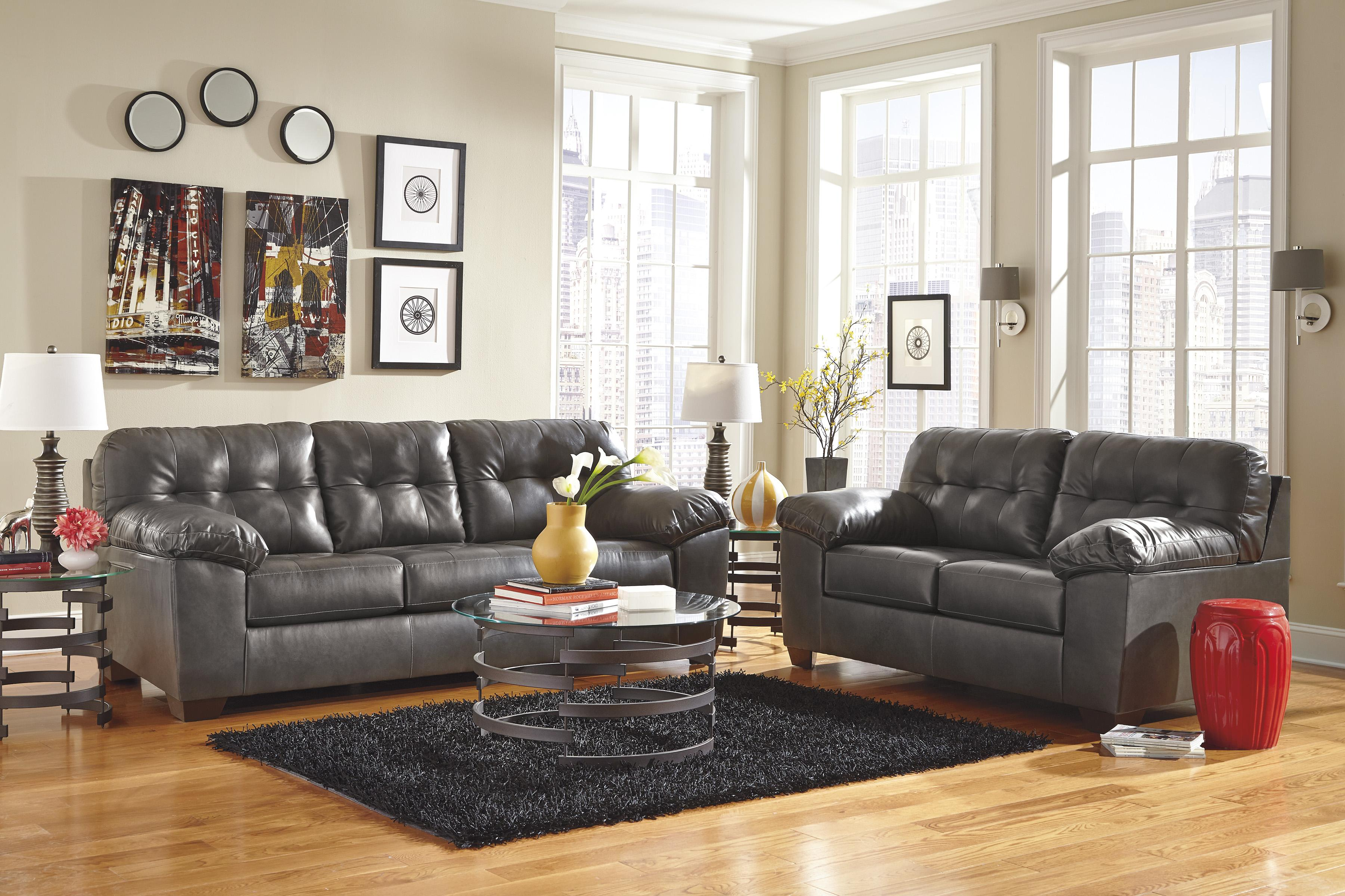 Contemporary Faux Leather Sofa w Pillow Arms by Signature