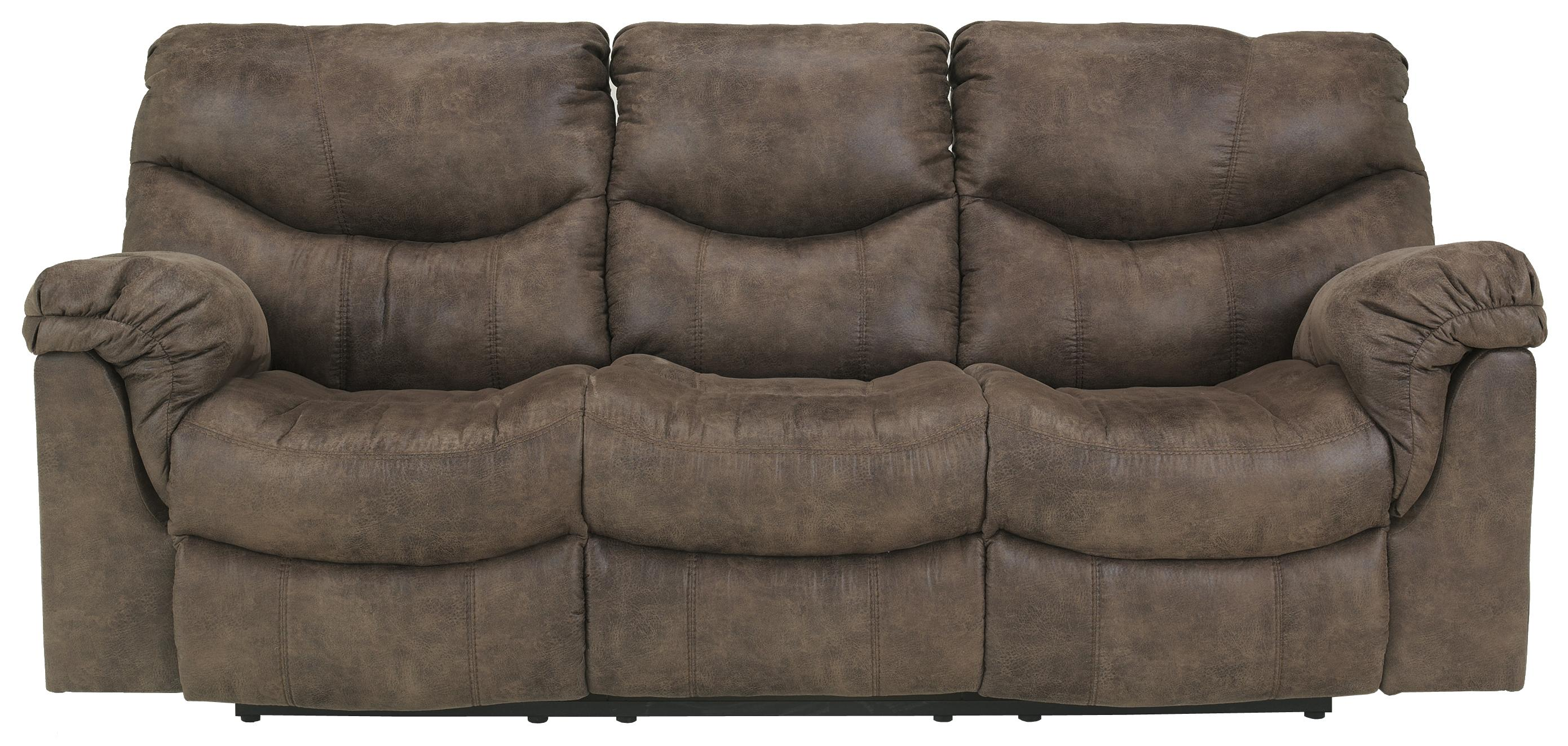 Reclining sofa with casual style by signature design by for Sectional sofas gardiners