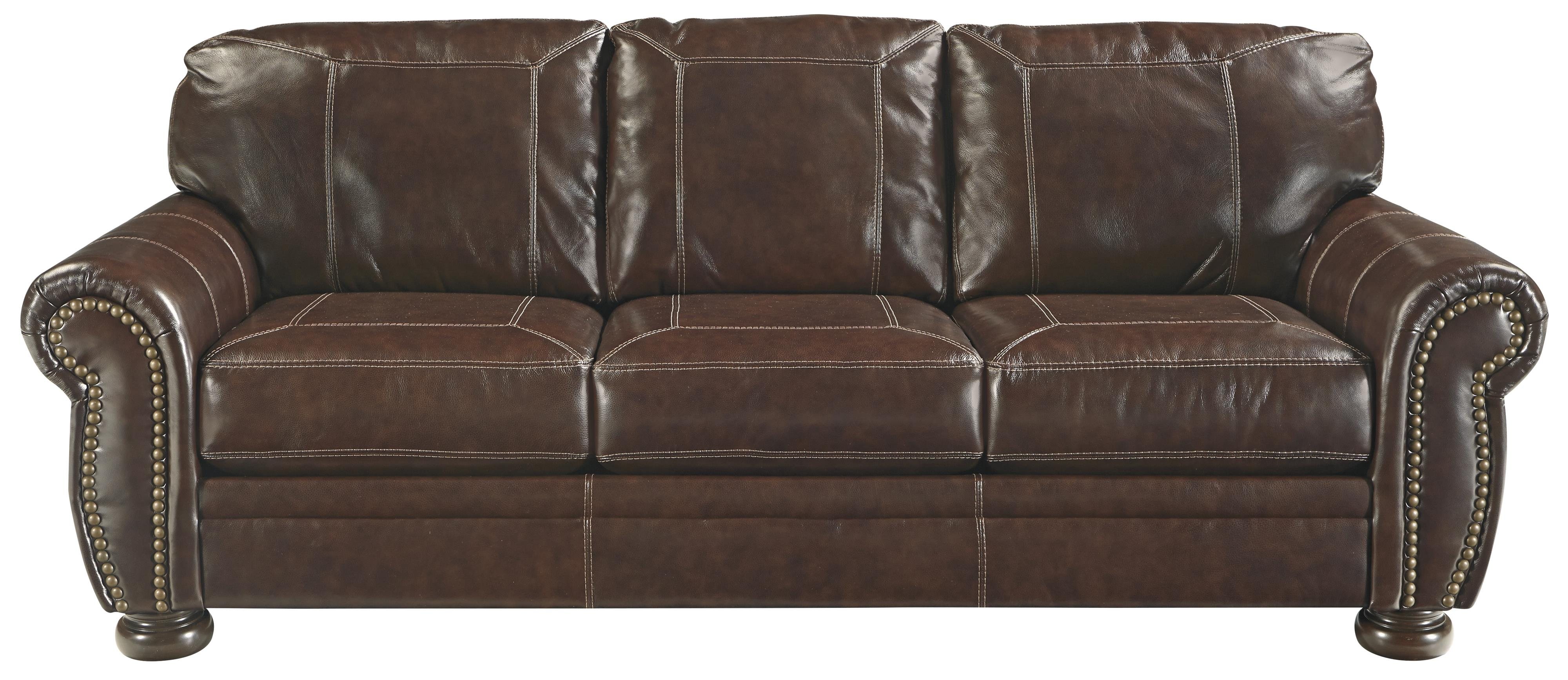 Traditional leather match sofa with rolled arms nailhead for Traditional leather furniture