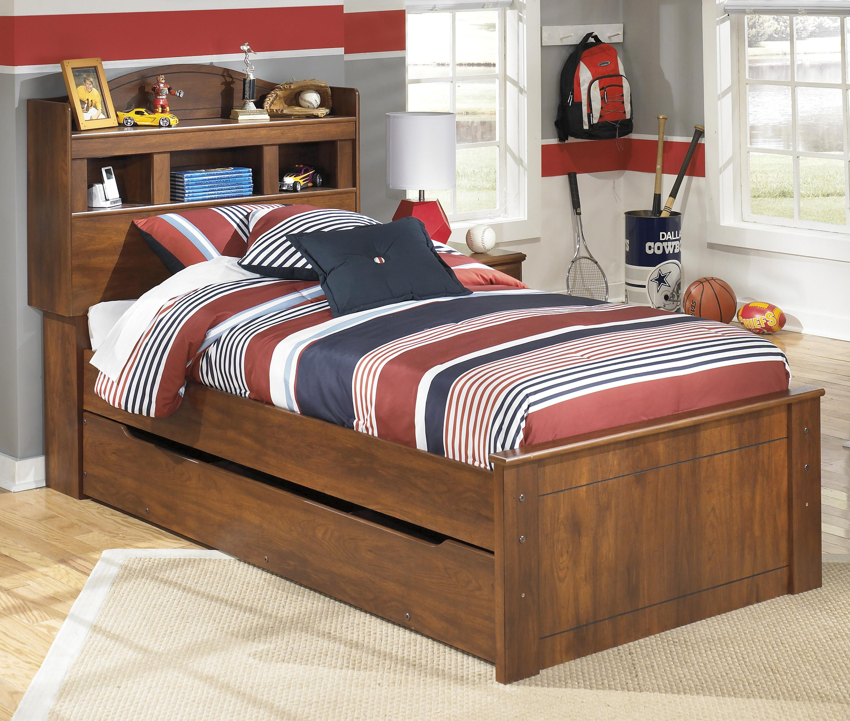 twin bookcase bed with trundle under bed storage unit by signature design by ashley wolf and. Black Bedroom Furniture Sets. Home Design Ideas