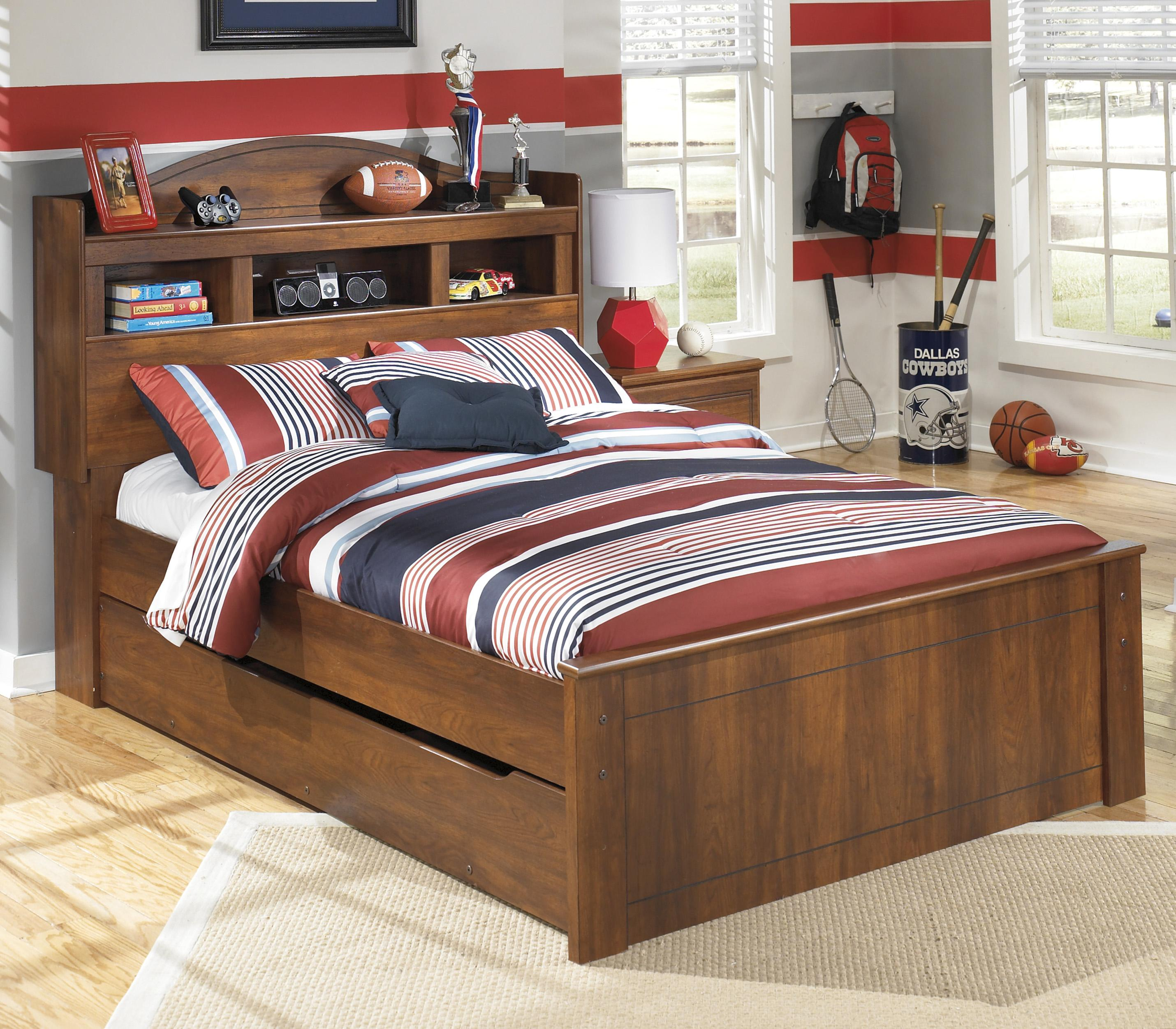 full bookcase bed with trundle under bed storage unit by signature design by ashley wolf and. Black Bedroom Furniture Sets. Home Design Ideas