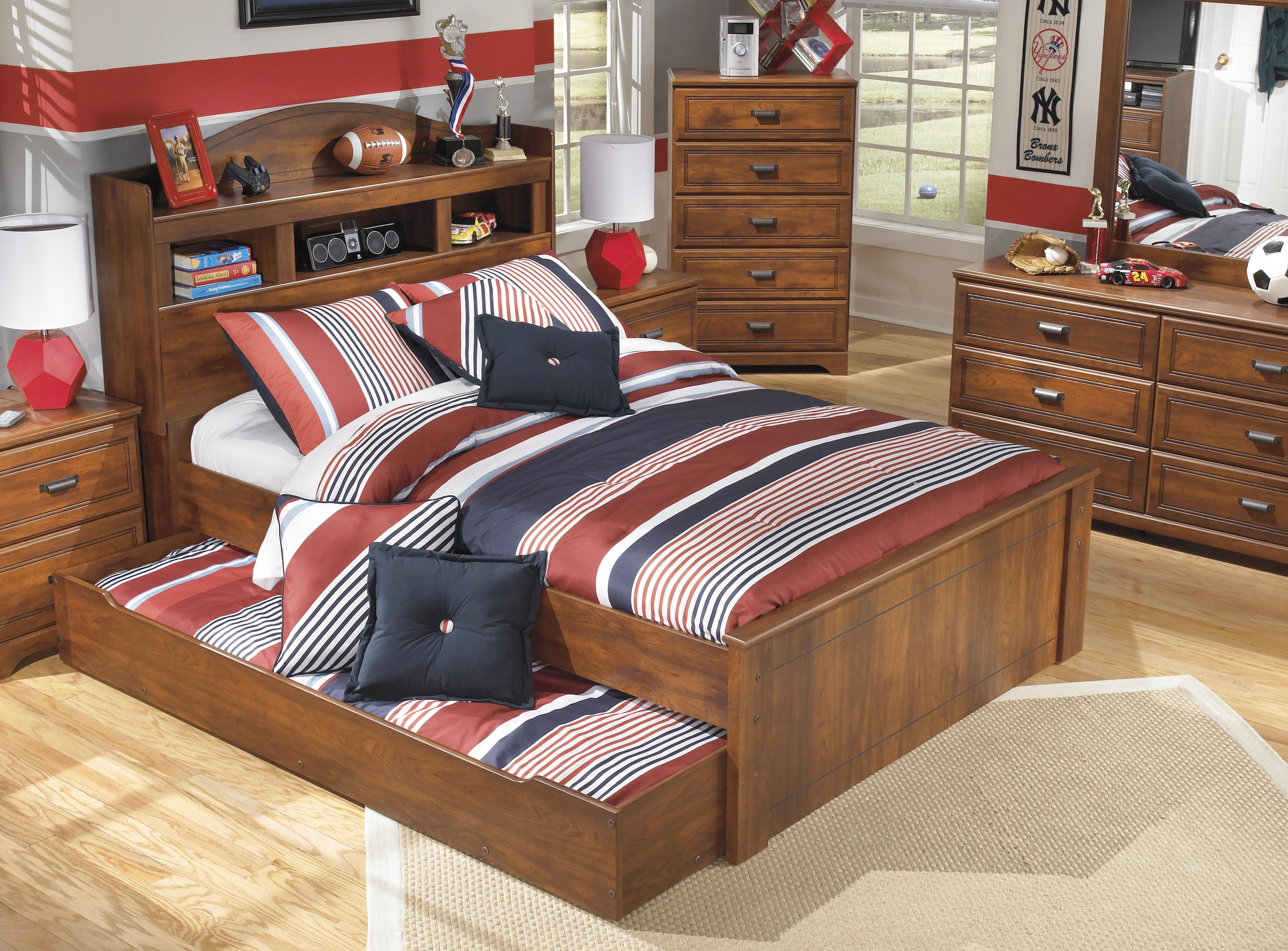 Full Bookcase Bed With Trundle Under Bed Storage Unit By Signature Design By Ashley Wolf And