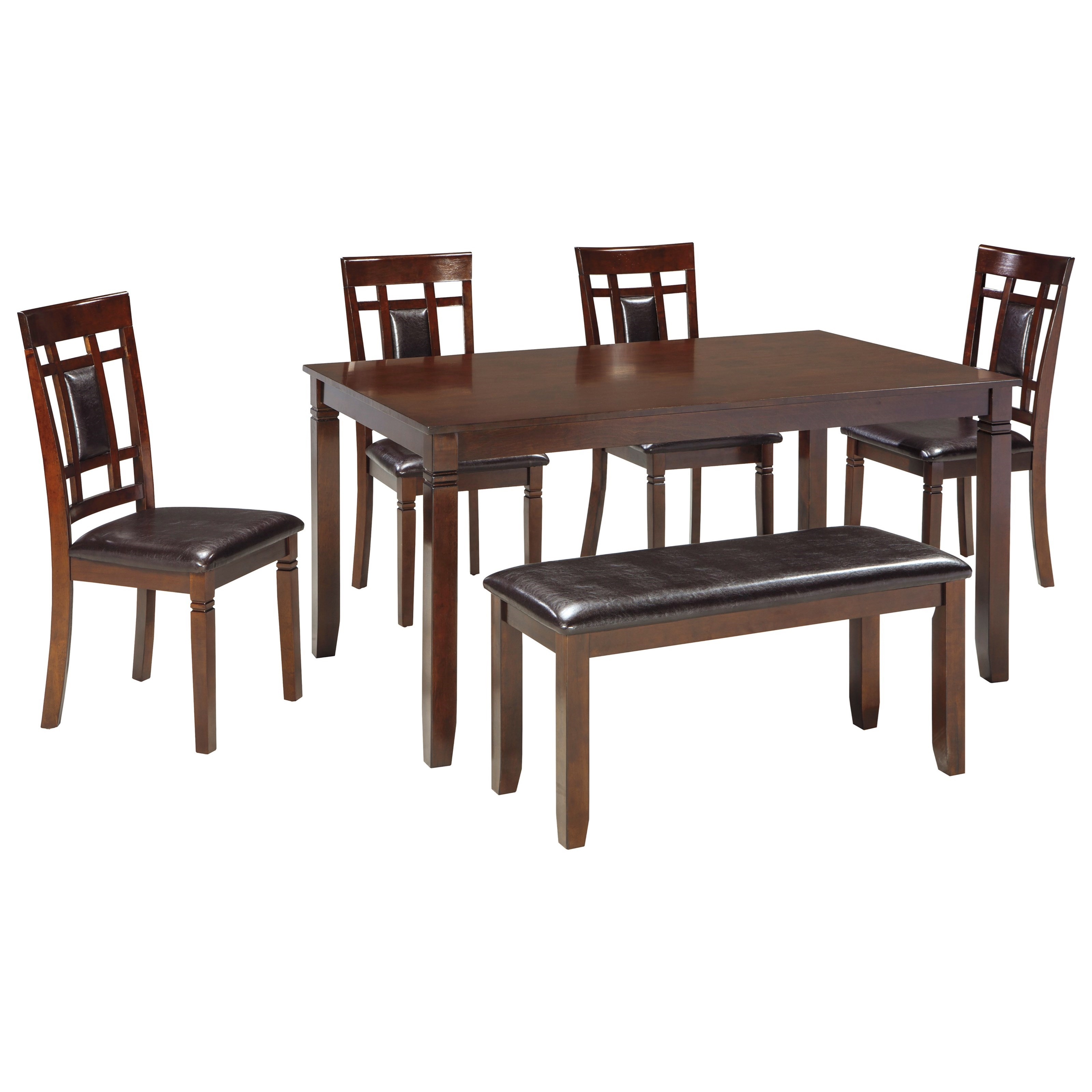 Contemporary 6 piece dining room table set with bench by Contemporary dining room sets with benches