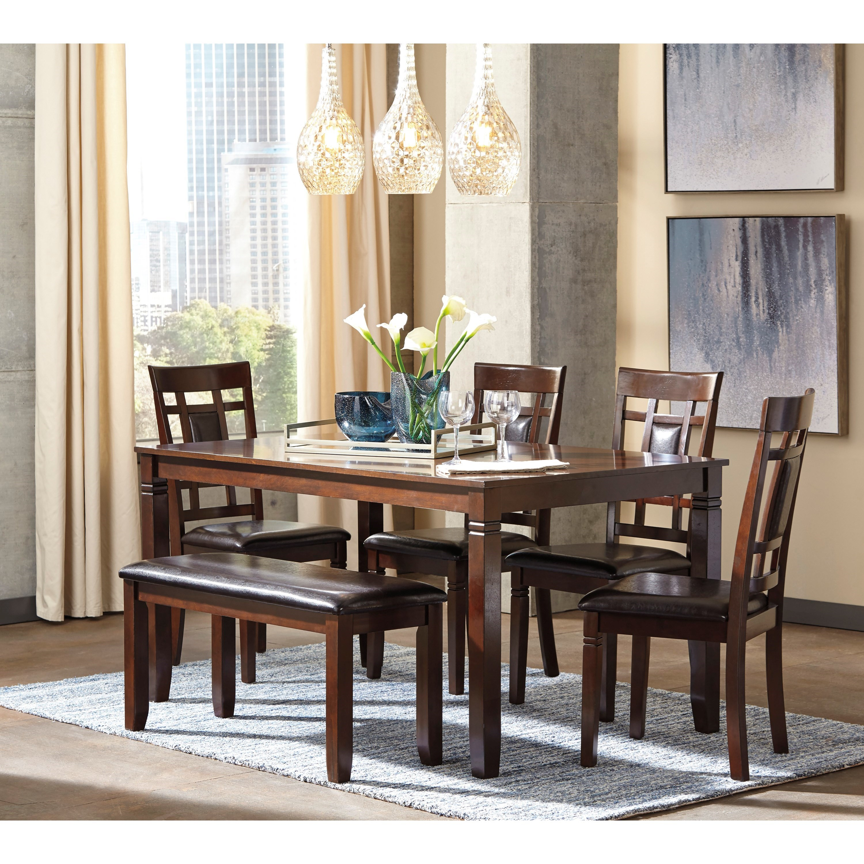 Bench Dining Room Table: Contemporary 6-Piece Dining Room Table Set With Bench By